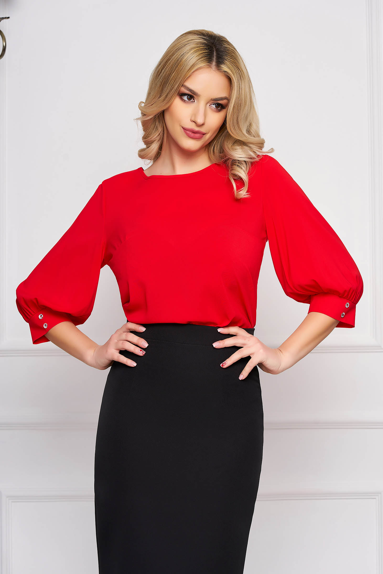 StarShinerS office airy fabric flared red women`s blouse with 3/4 sleeves