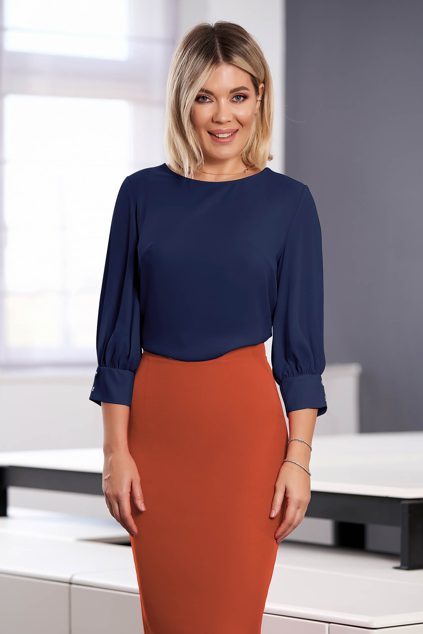 StarShinerS office airy fabric flared darkblue women`s blouse with 3/4 sleeves