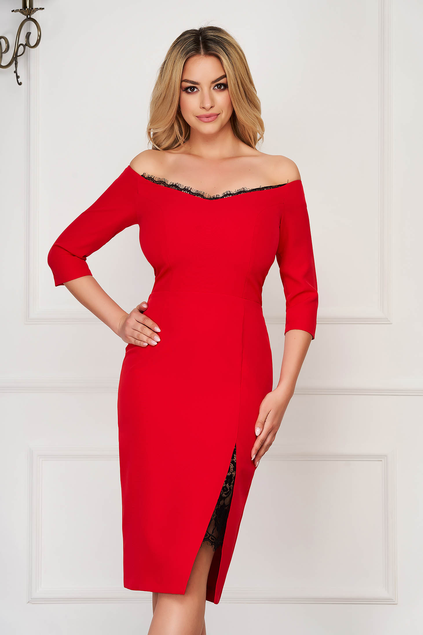 StarShinerS red dress elegant midi pencil cloth thin fabric with 3/4 sleeves naked shoulders with lace details