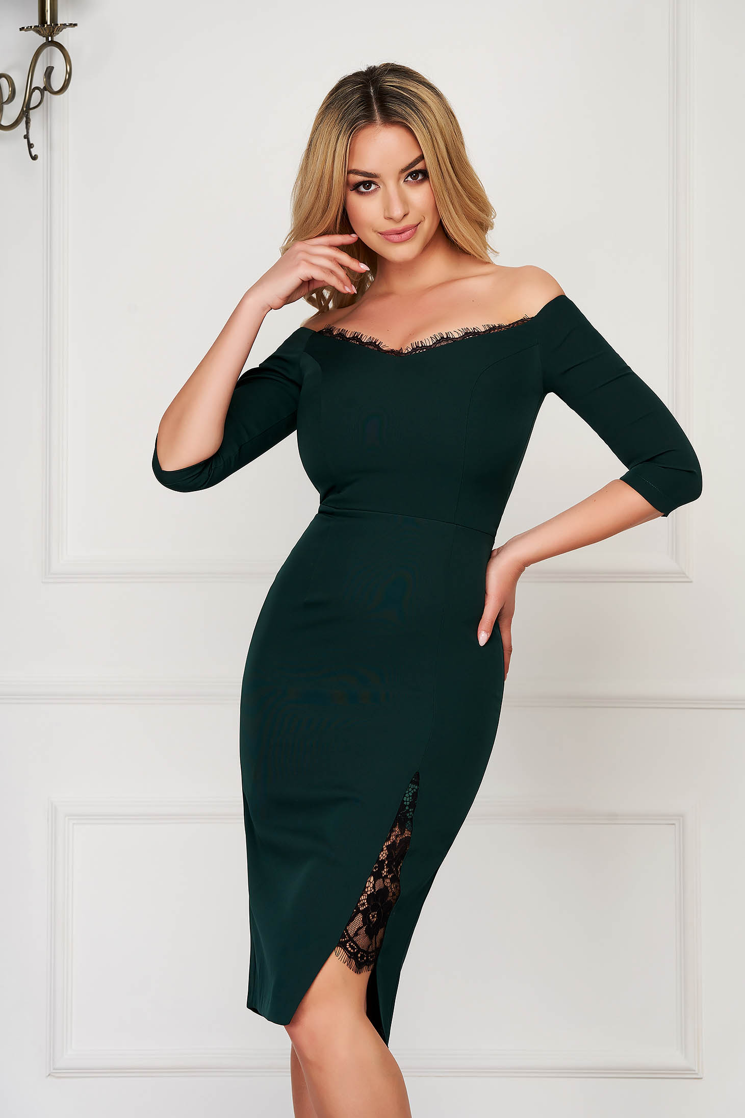 StarShinerS dirty green dress elegant midi pencil cloth thin fabric with 3/4 sleeves naked shoulders with lace details