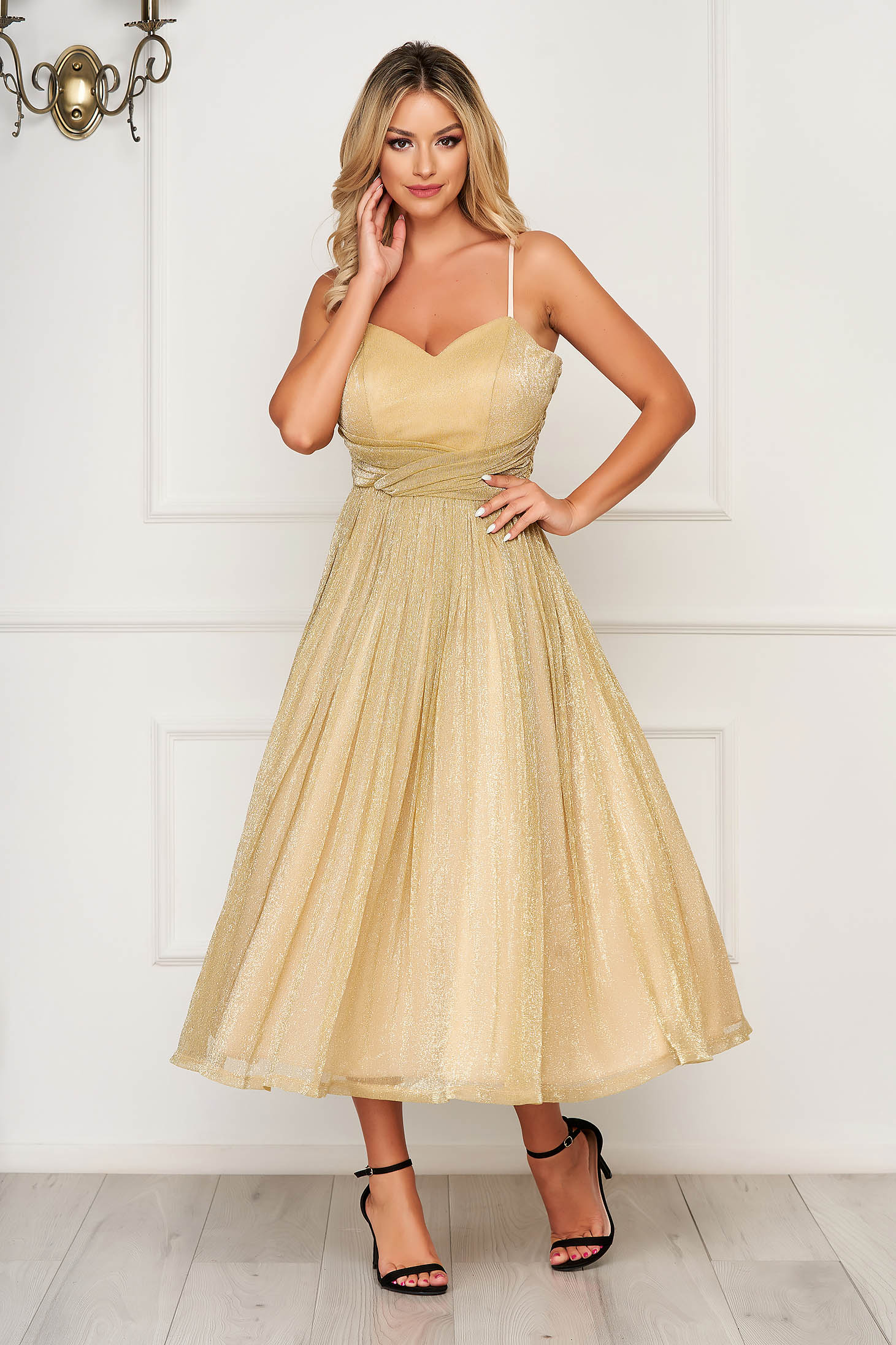 Gold dress occasional midi cloche with straps from veil fabric with push-up bra