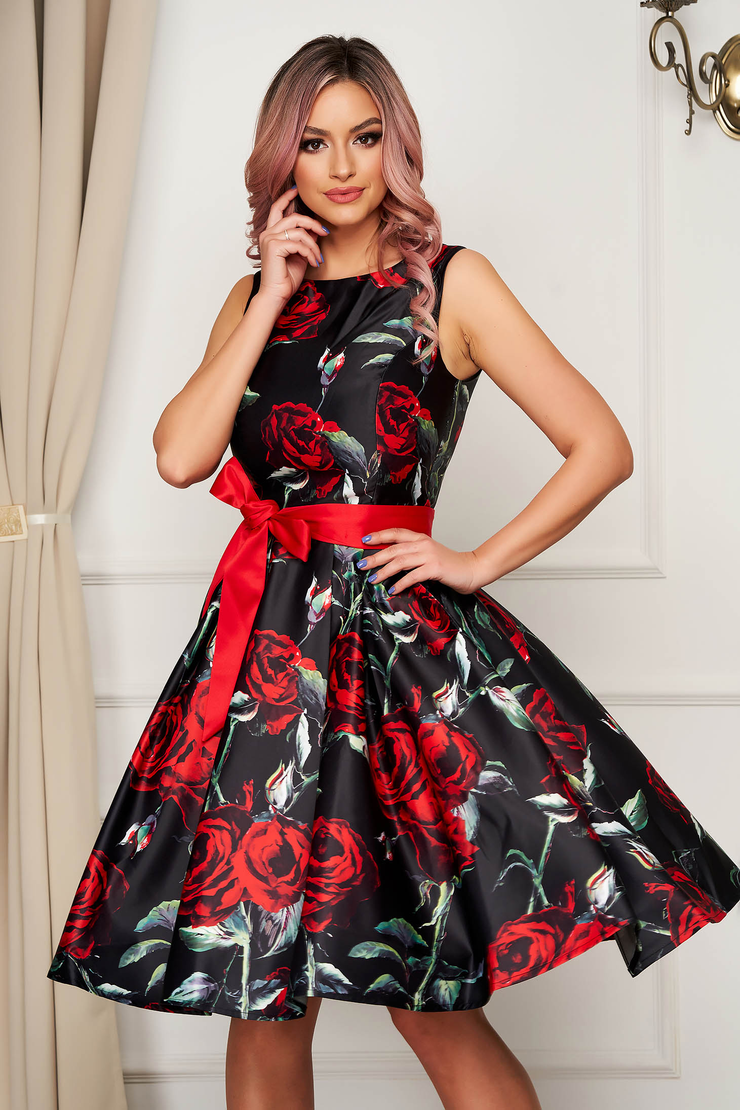 Black dress occasional midi cloche from satin with floral print sleeveless detachable cord