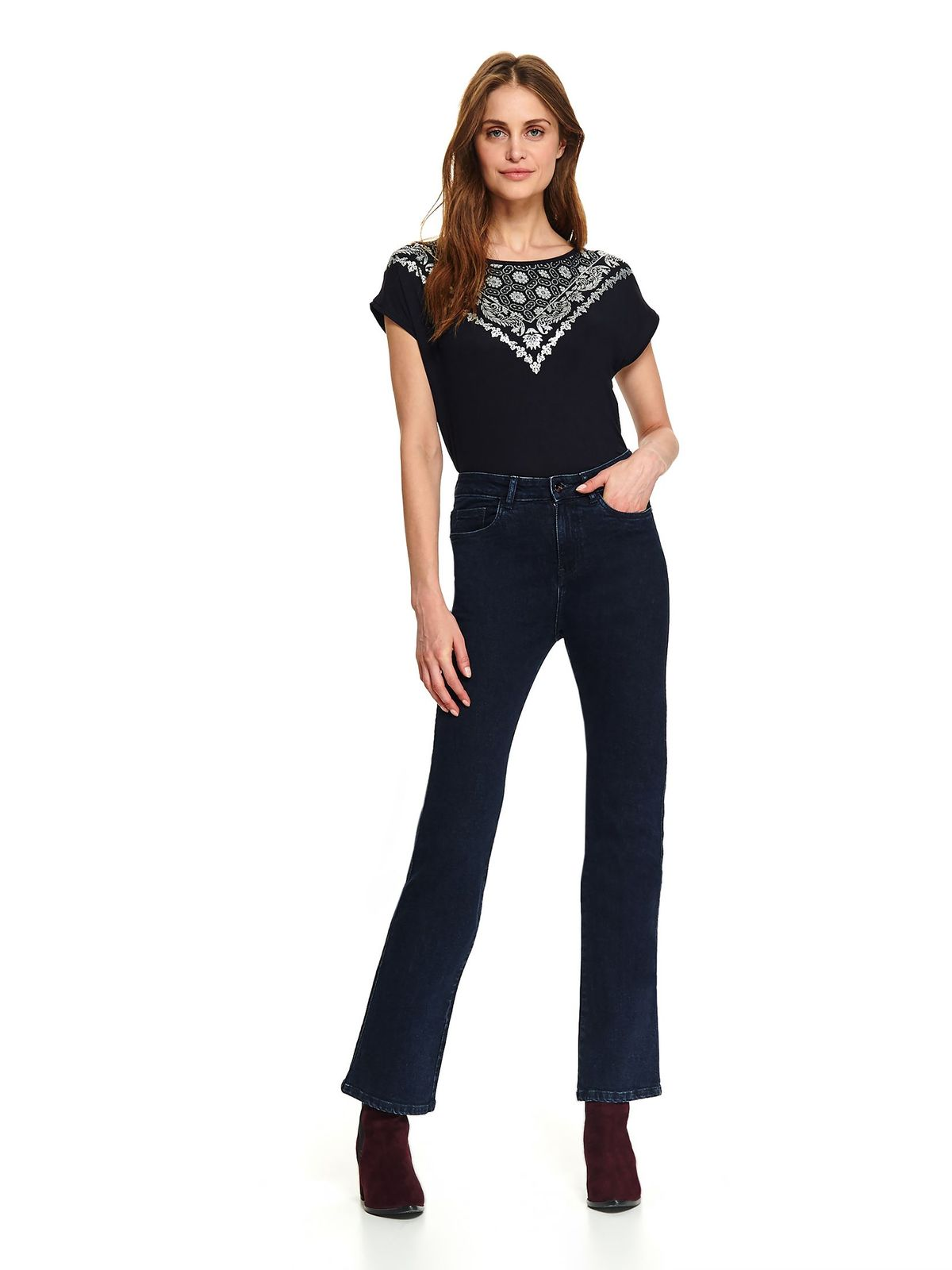 Darkblue women`s blouse casual short cut flared with graphic details neckline short sleeves