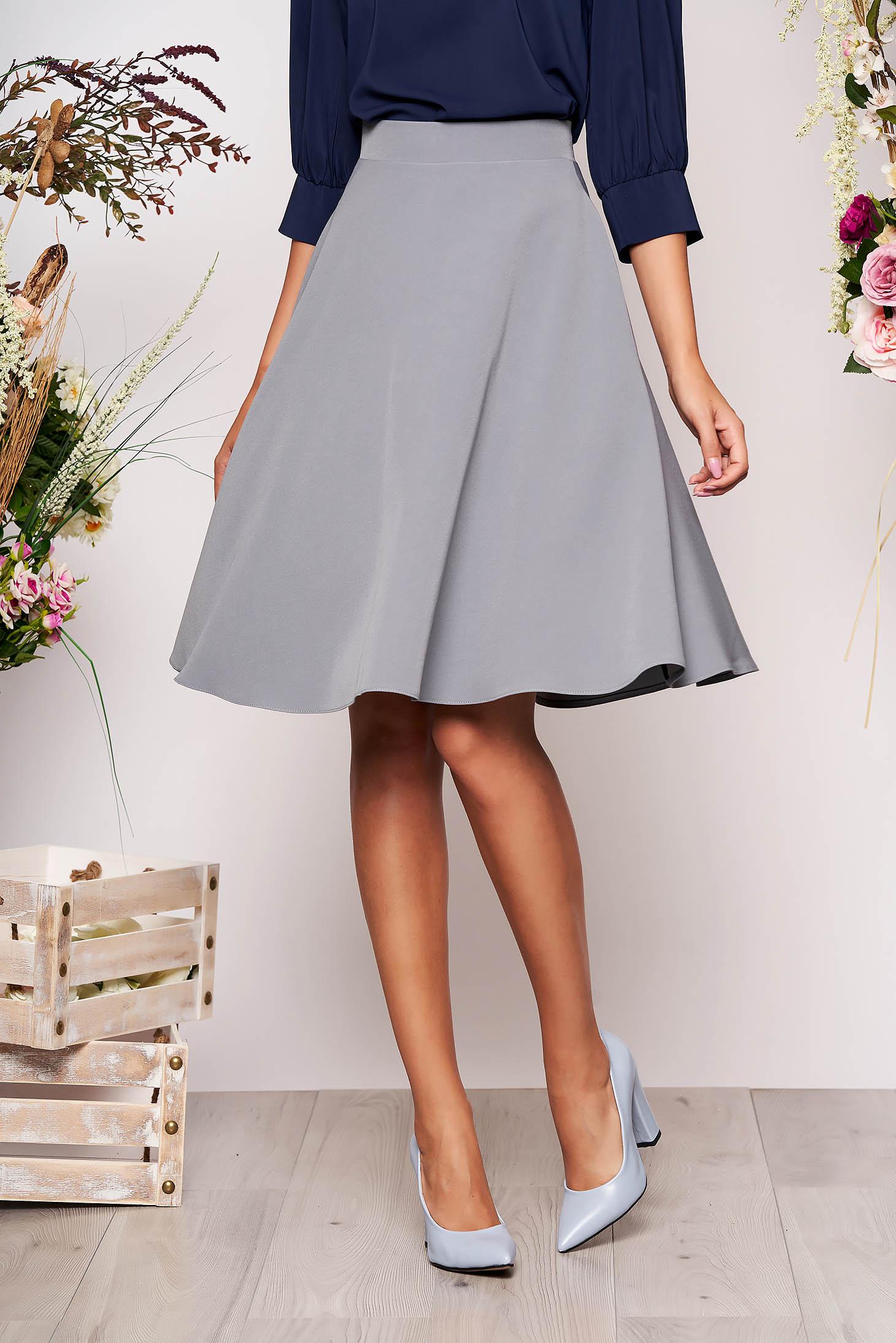 StarShinerS grey elegant cloche skirt high waisted slightly elastic fabric office