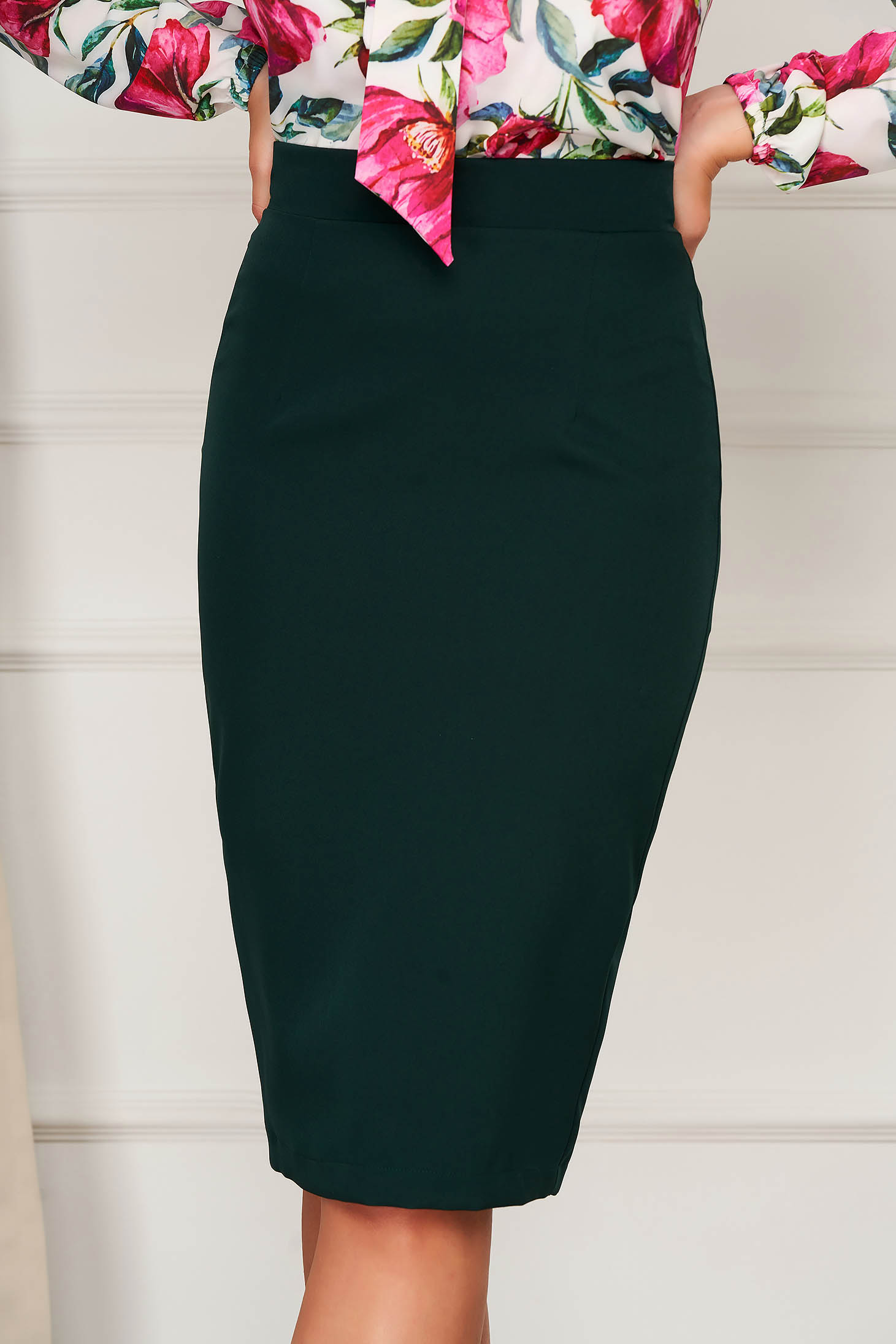 StarShinerS dirty green high waisted office pencil skirt slightly elastic fabric