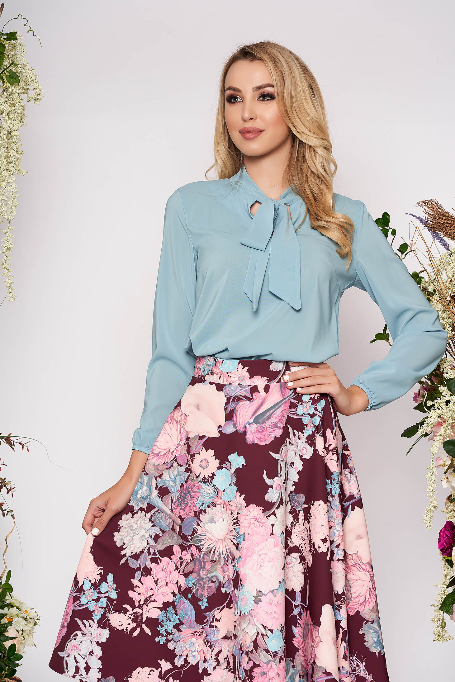 Bluza dama StarShinerS mint eleganta cu croi larg din voal cu maneci lungi si guler tip esarfa