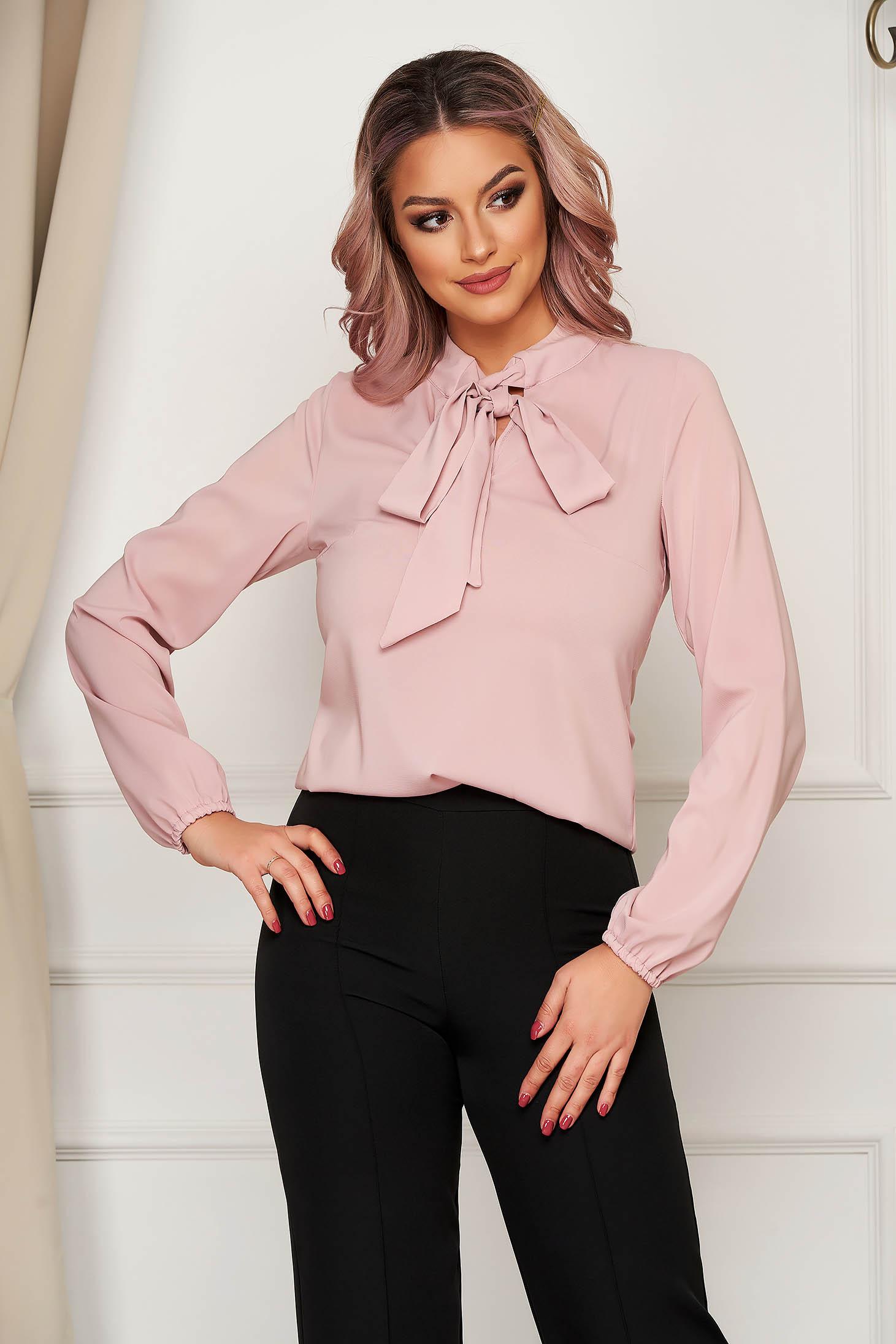 Bluza dama StarShinerS roz prafuit eleganta cu croi larg din voal cu maneci lungi cu guler tip esarfa