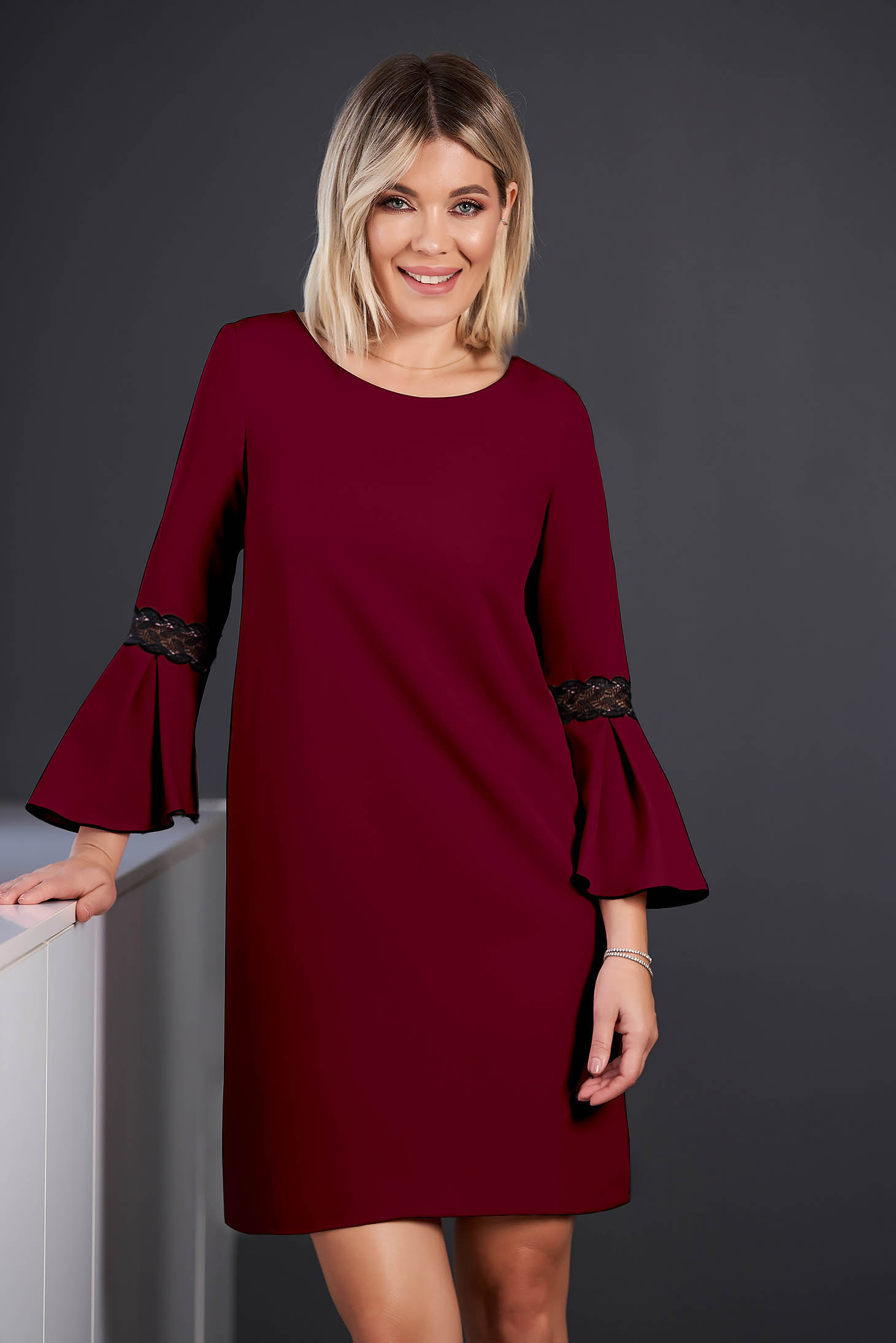 StarShinerS burgundy dress elegant short cut cloth neckline with 3/4 sleeves with bell sleeve with embroidery details