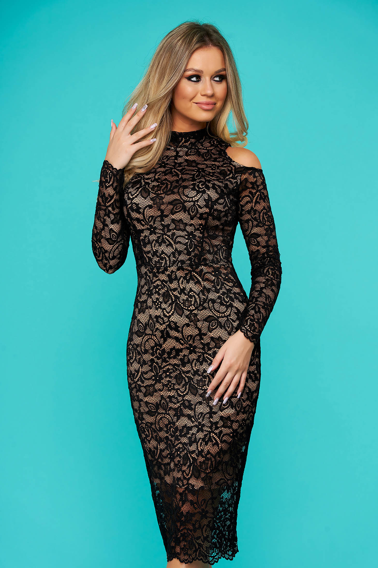 StarShinerS black dress occasional midi laced with turtle neck naked shoulders from elastic fabric long sleeved