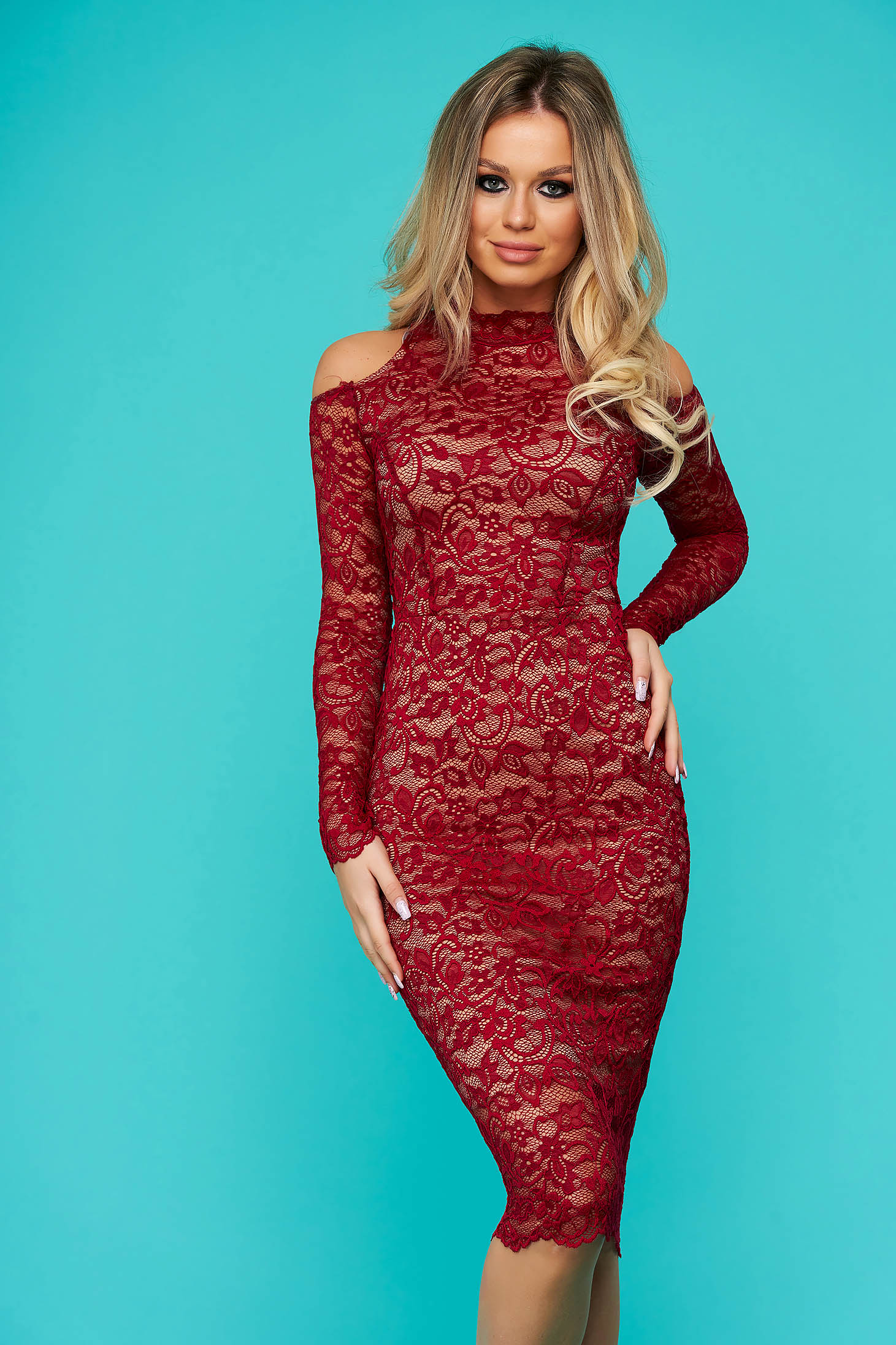 StarShinerS raspberry dress occasional midi laced with turtle neck naked shoulders from elastic fabric long sleeved