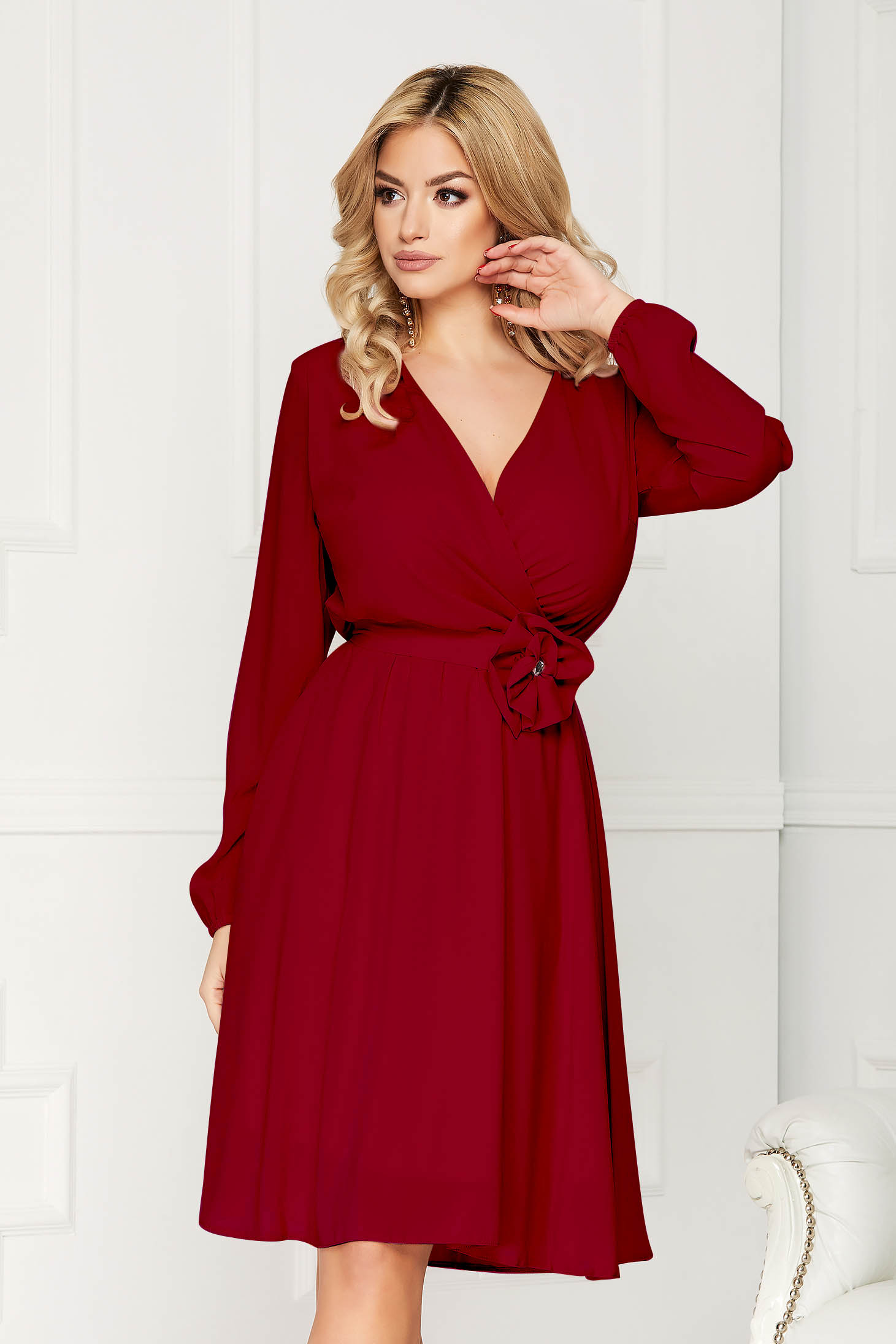 StarShinerS burgundy dress occasional midi cloche airy fabric with elastic waist long sleeved wrap over front