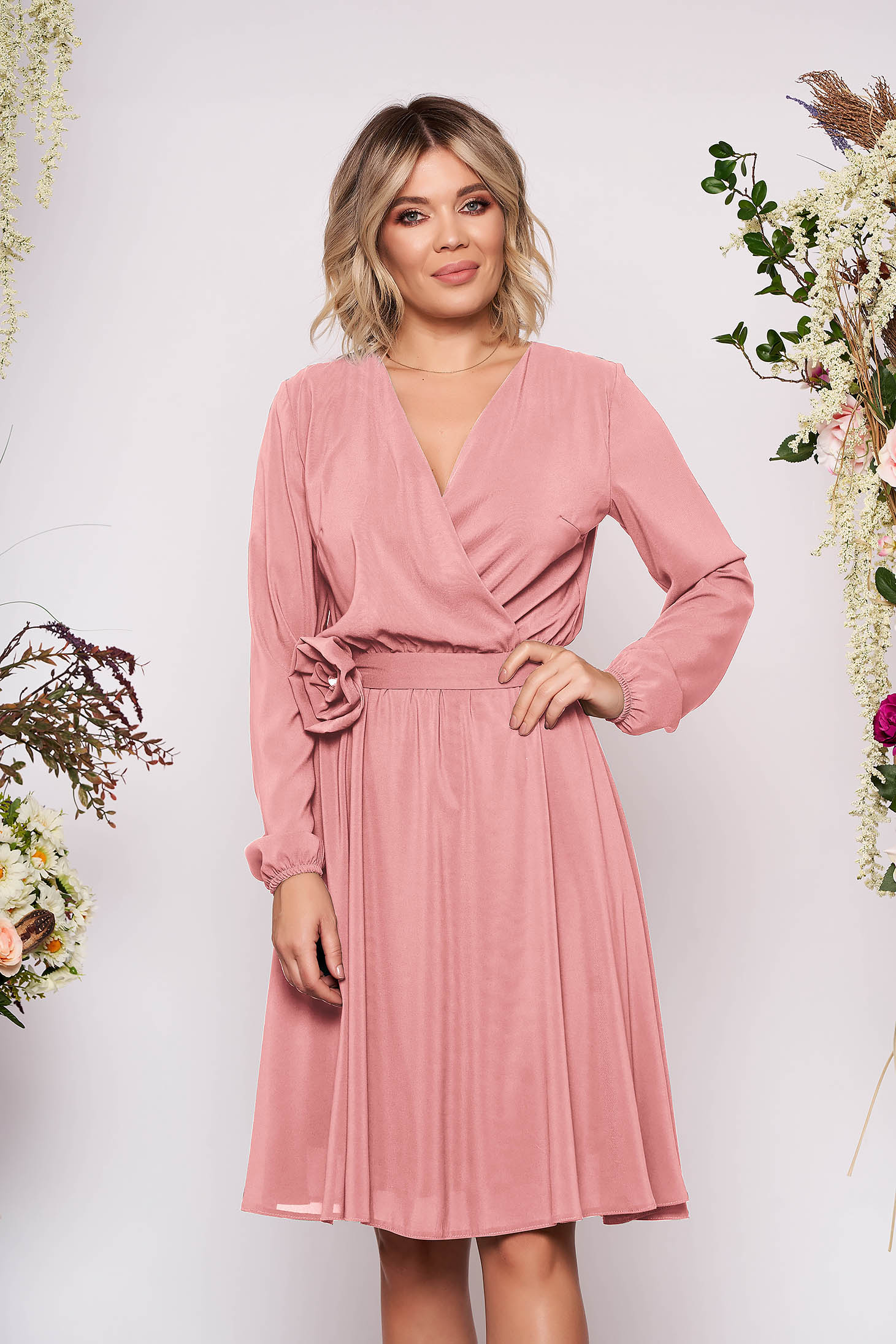 StarShinerS lightpink dress occasional midi cloche airy fabric with elastic waist long sleeved wrap over front