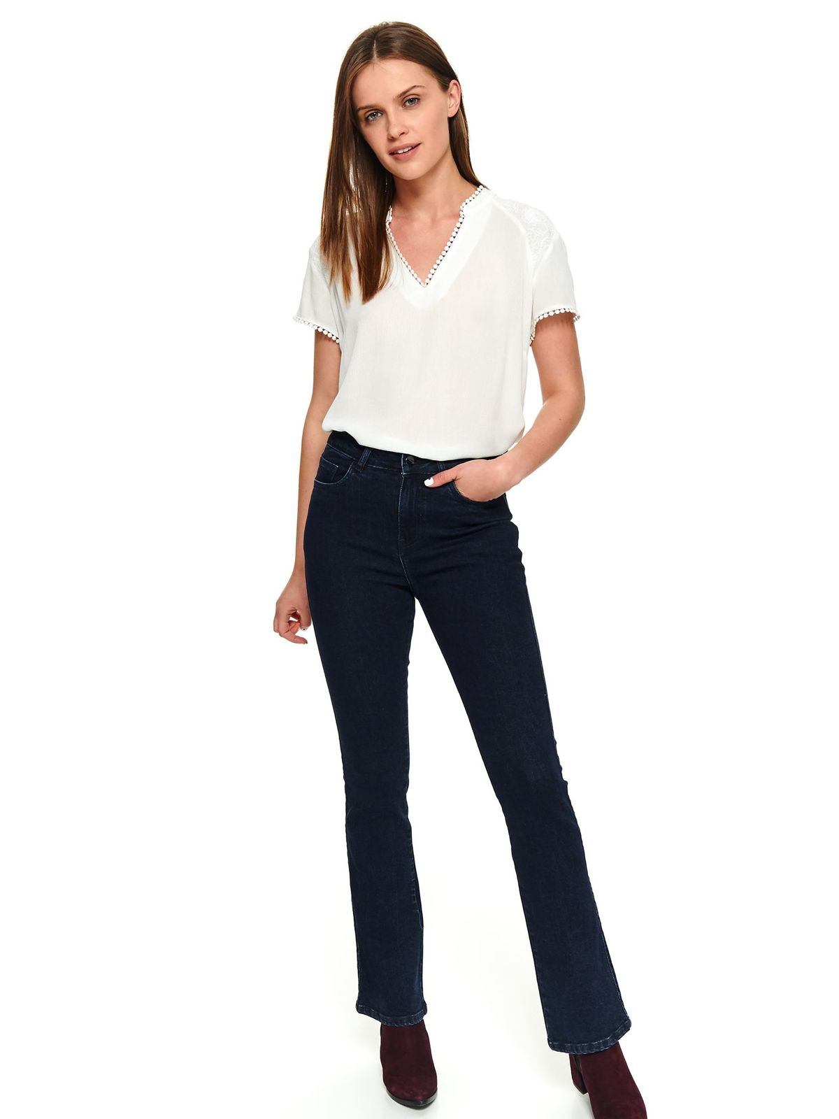 Darkblue trousers casual flared denim with front and back pockets long