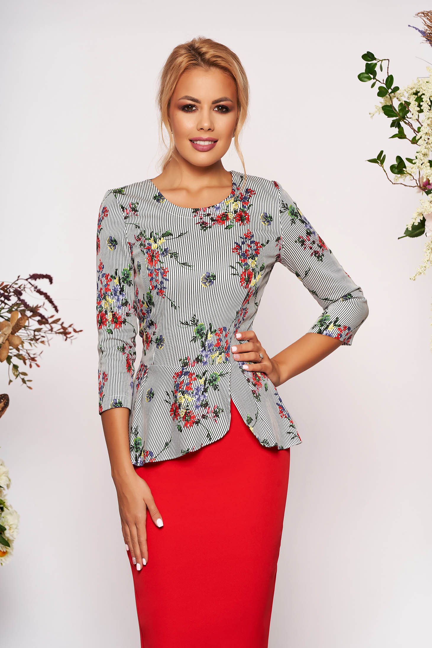 StarShinerS black elegant short cut women`s blouse peplum from non elastic fabric with floral prints