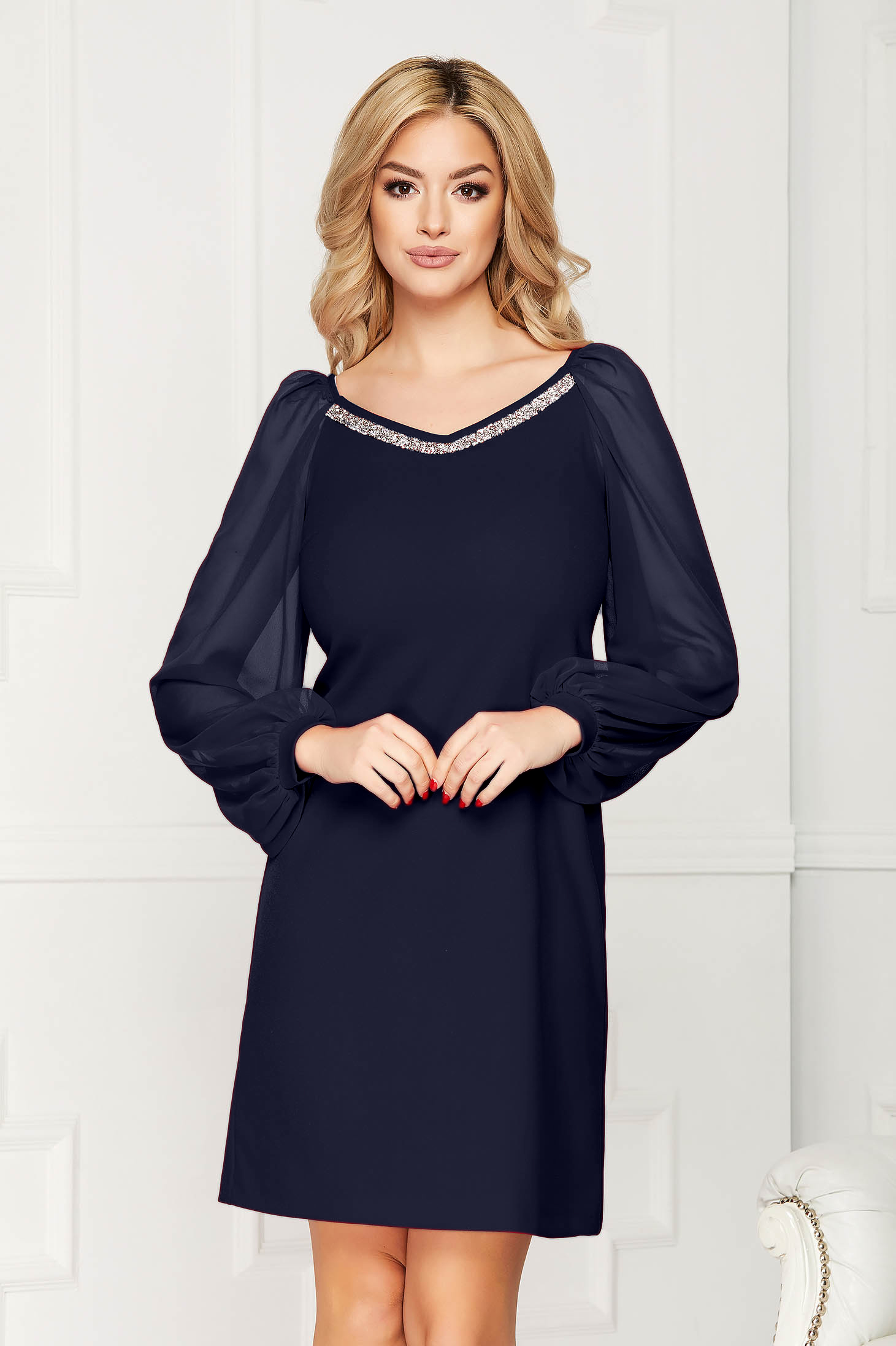 StarShinerS darkblue dress occasional short cut straight scuba from elastic fabric with veil sleeves with v-neckline with embellished accessories