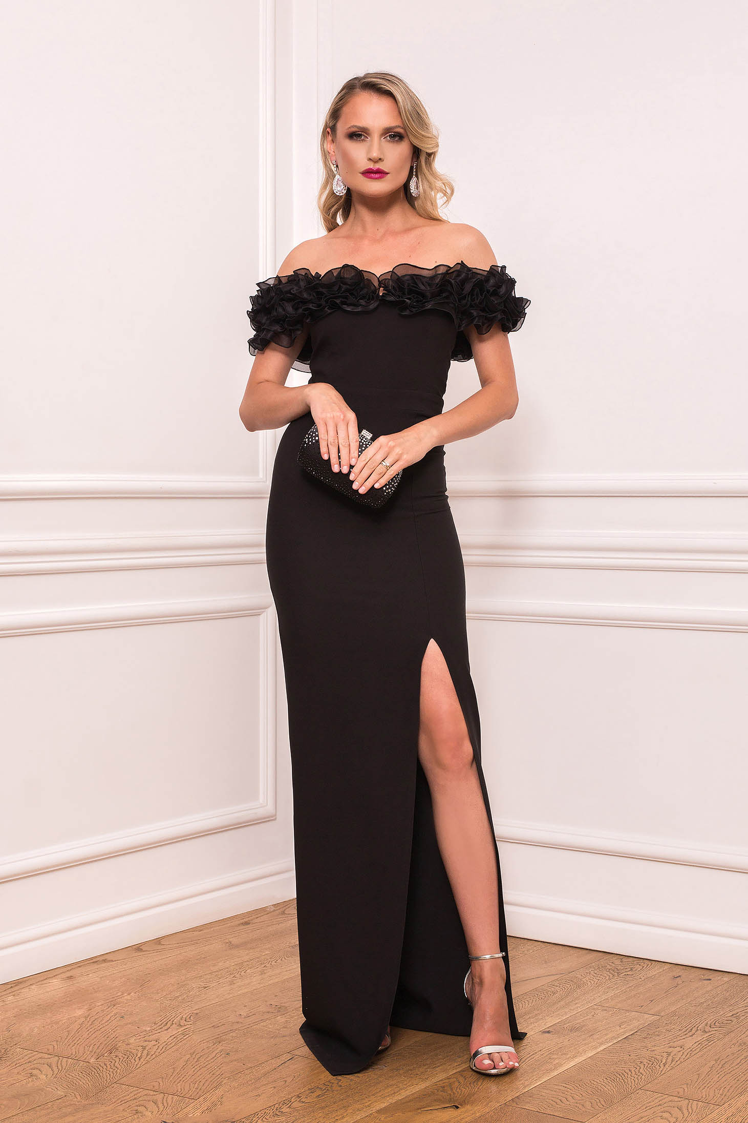 Black dress occasional long cloth thin fabric with ruffle details cut material without clothing naked shoulders