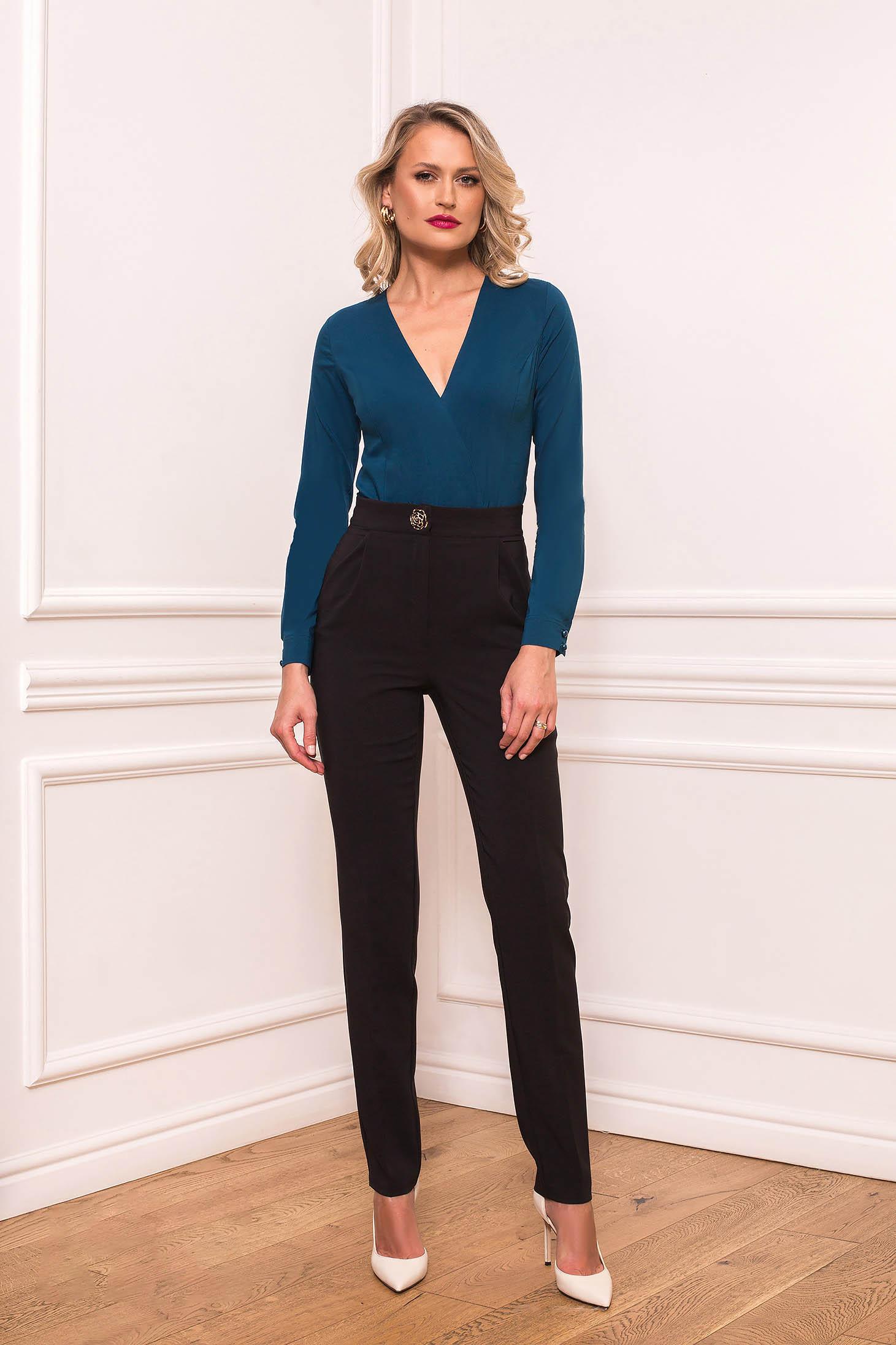 Black trousers elegant straight cloth slightly elastic fabric with pockets