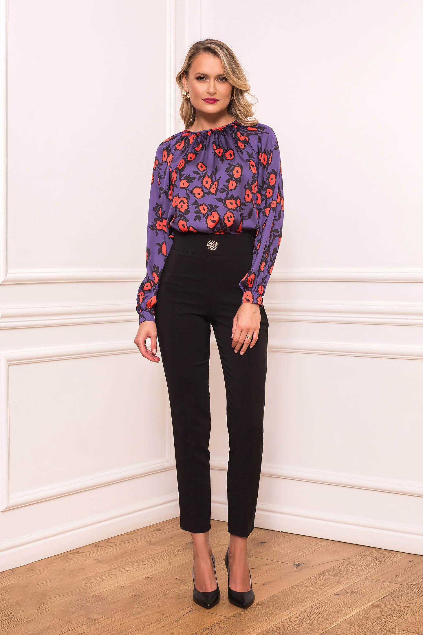 Pantaloni PrettyGirl negri eleganti lungi cu croi drept din stofa subtire cu accesoriu metalic in forma de floare