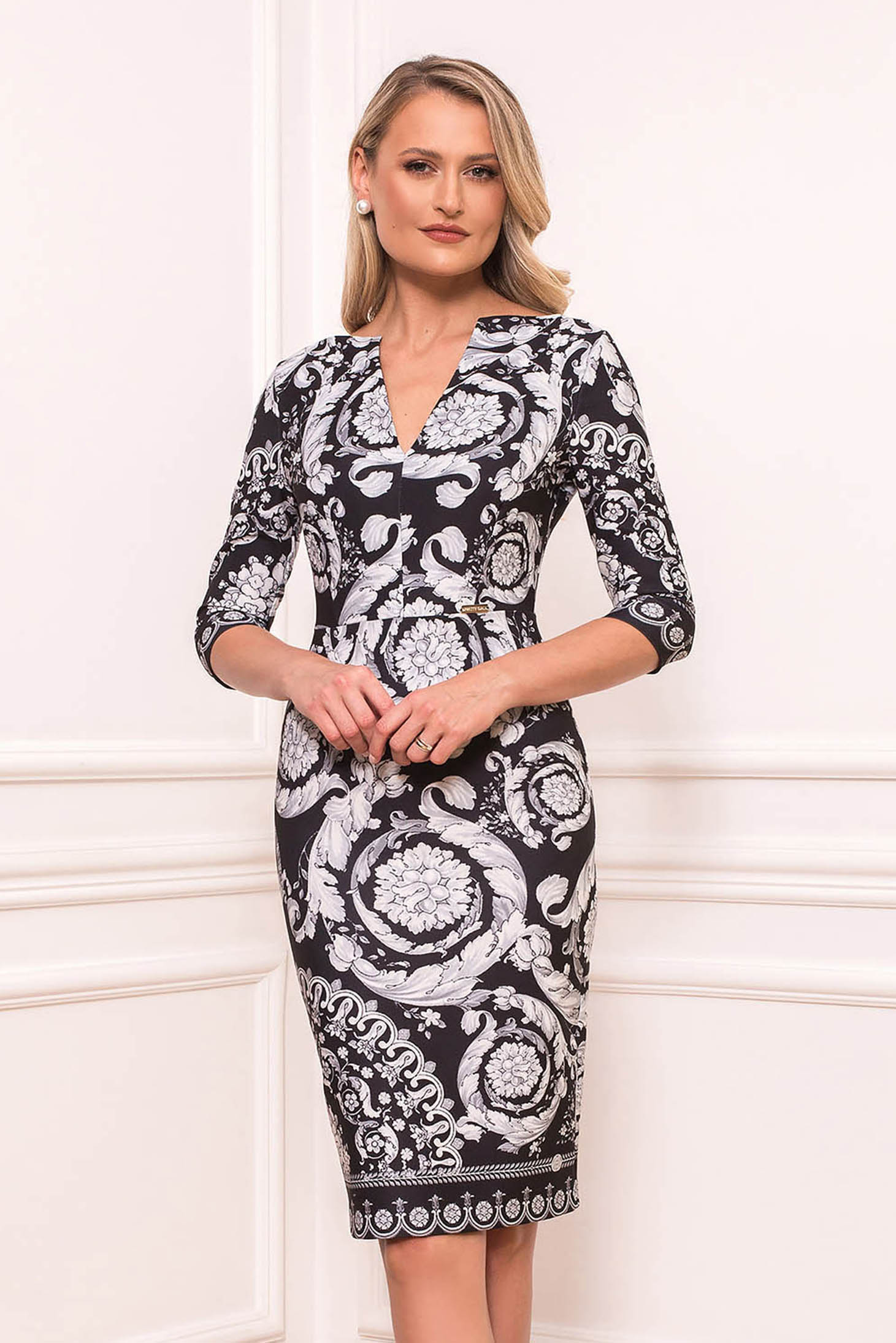 Silver dress midi pencil elegant with v-neckline with 3/4 sleeves with graphic details