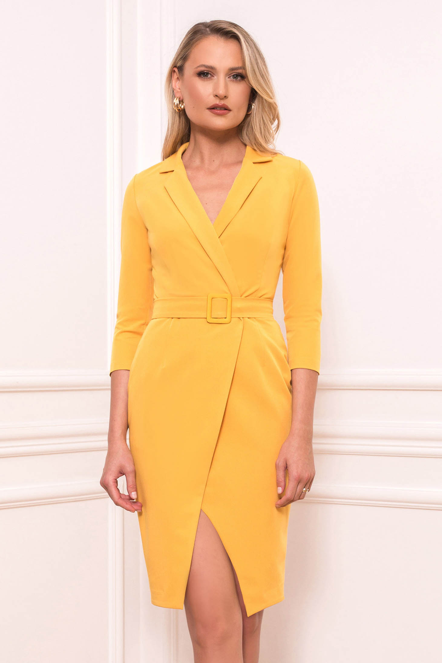 Mustard dress elegant short cut straight with 3/4 sleeves wrap over skirt accessorized with belt