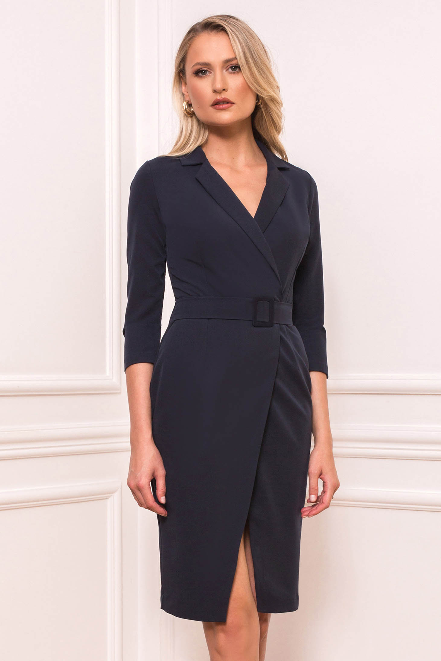 Darkblue dress elegant short cut straight with 3/4 sleeves wrap over skirt accessorized with belt