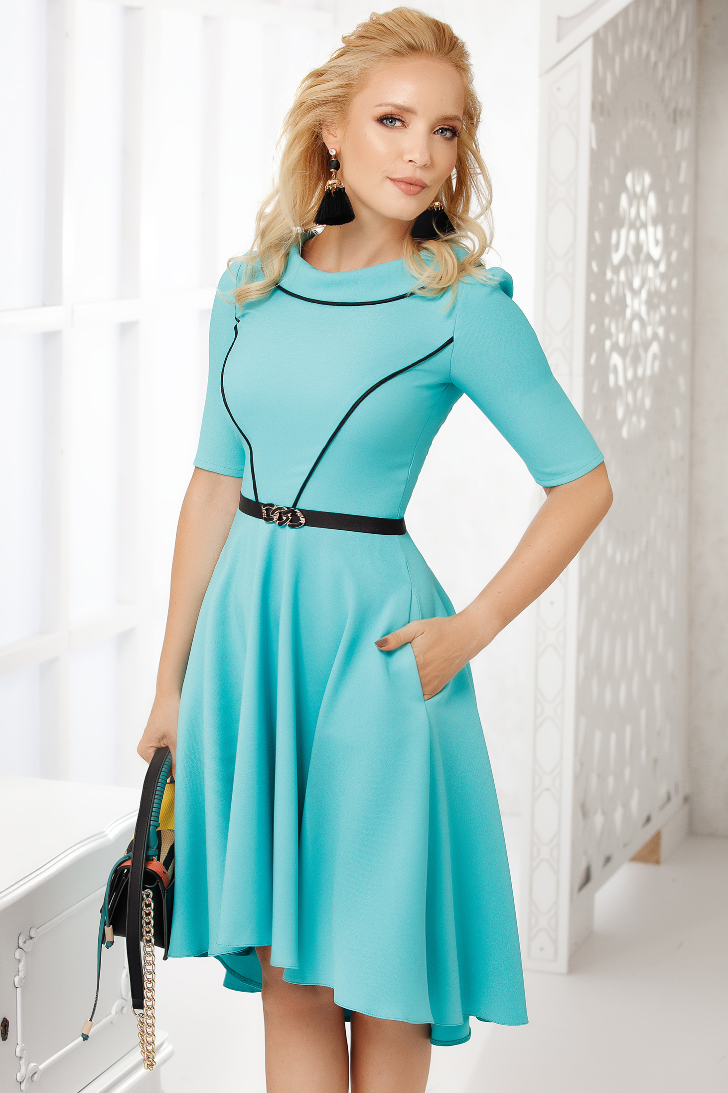 Turquoise dress occasional with pockets cloche asymmetrical midi cloth