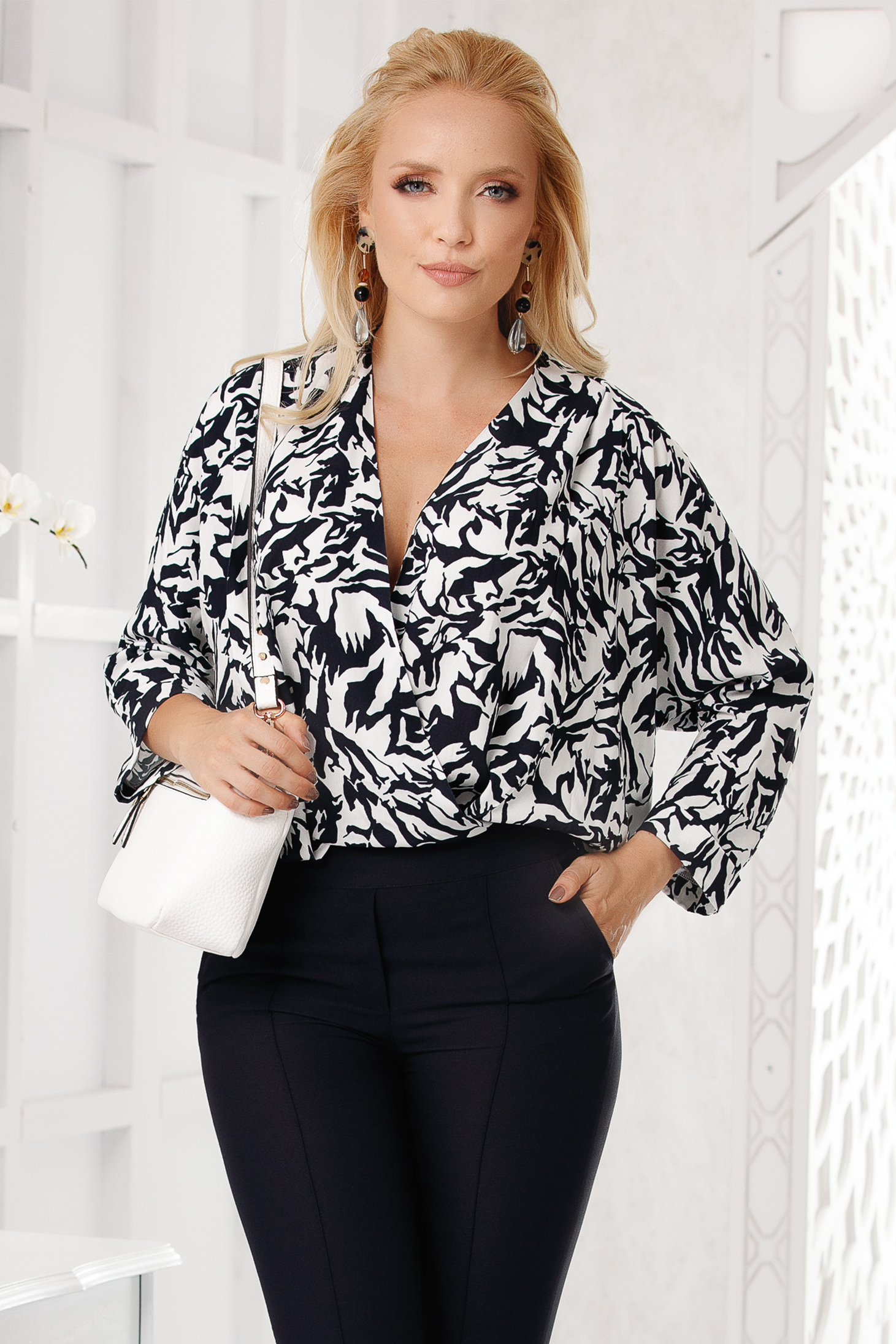 Darkblue women`s blouse elegant short cut flared with graphic details with deep cleavage long sleeved