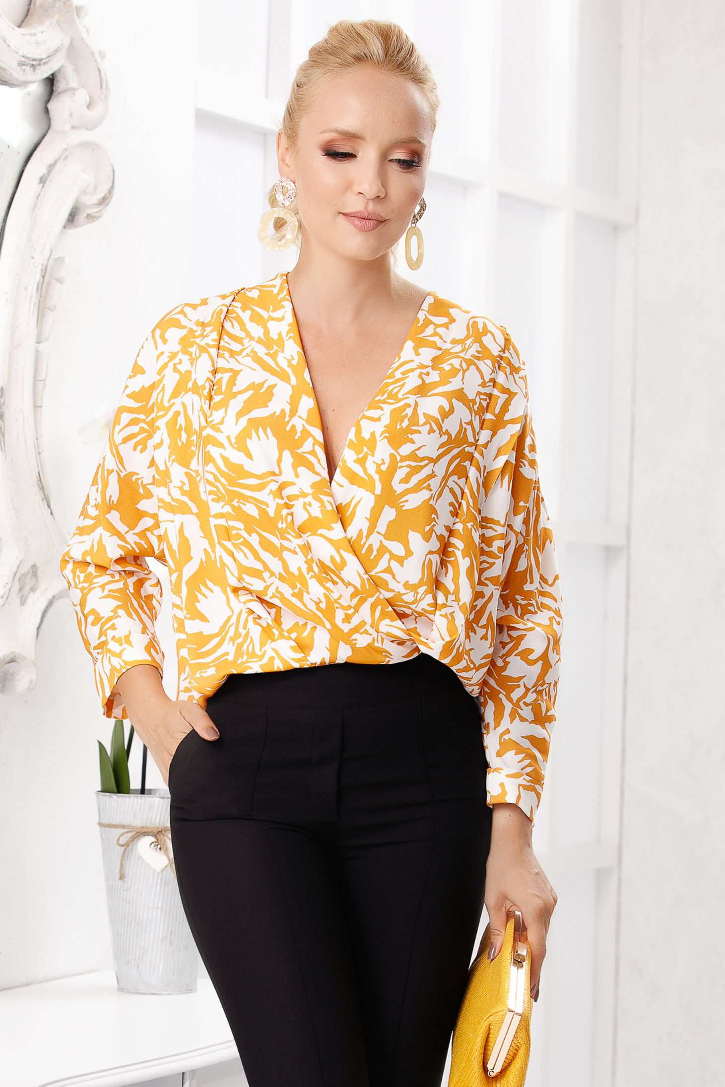 Mustard women`s blouse elegant short cut flared with graphic details with deep cleavage long sleeved