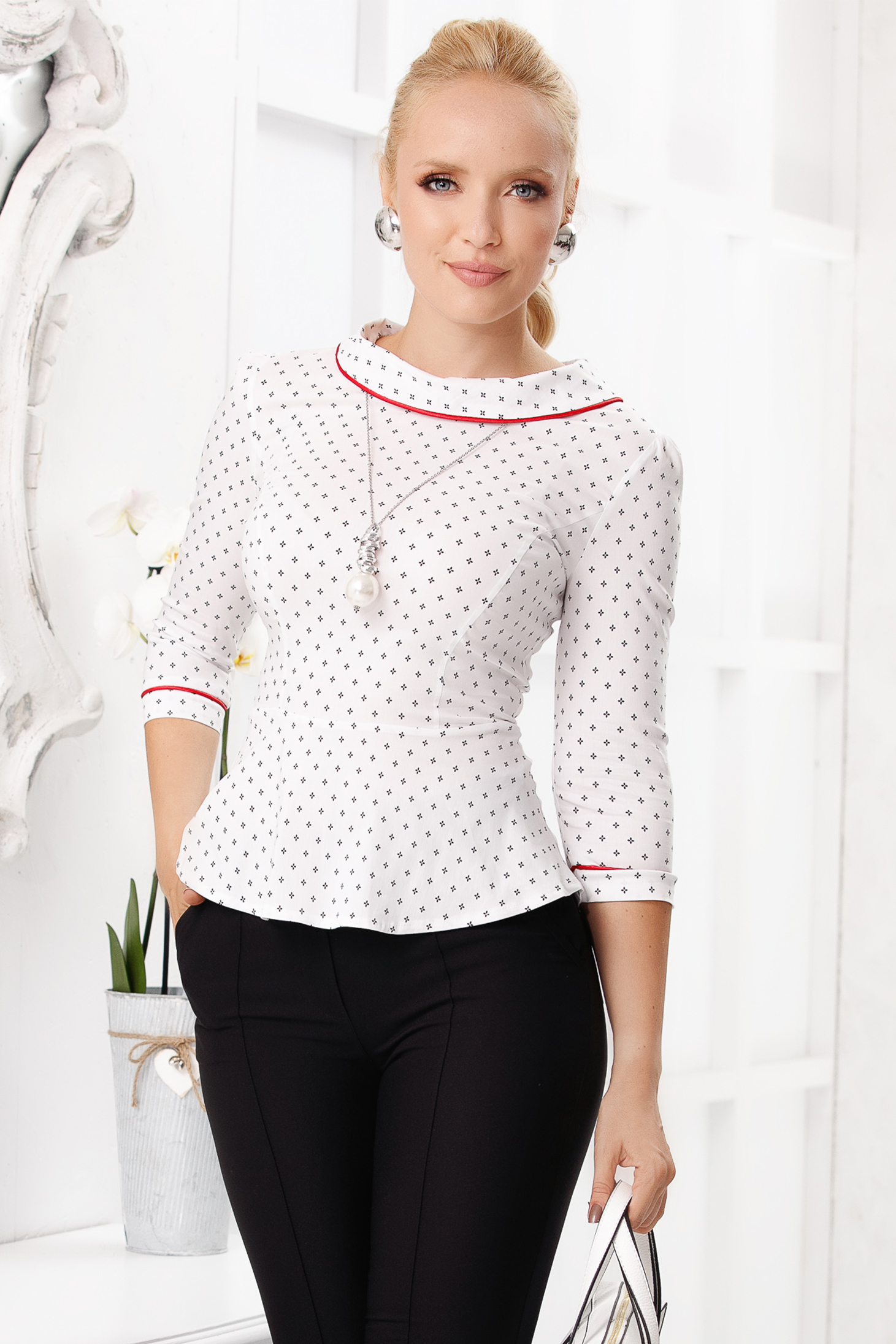 White women`s shirt elegant short cut tented cotton peplum with graphic details