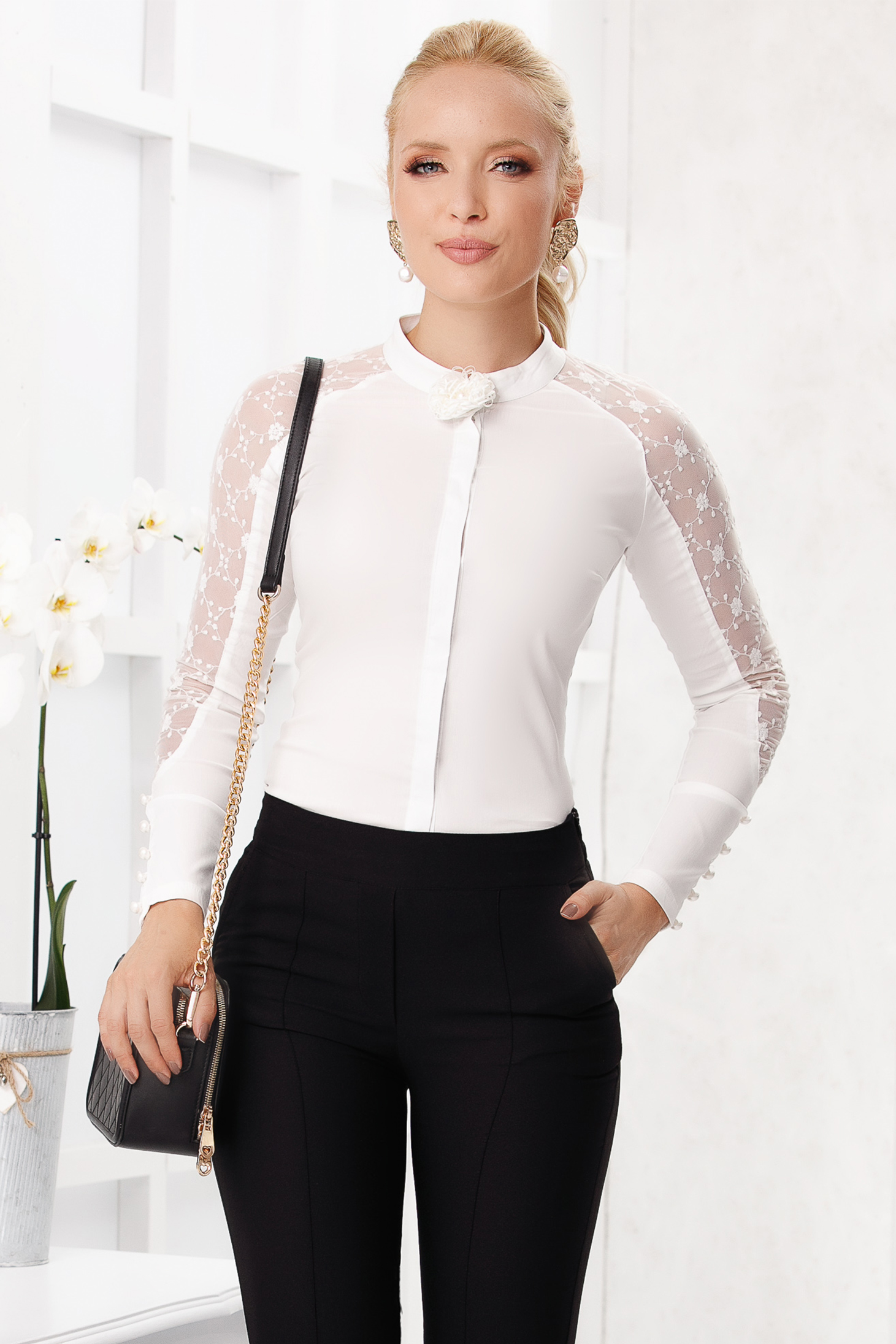 Elegant tented ivory cotton women`s shirt long sleeve with laced sleeves
