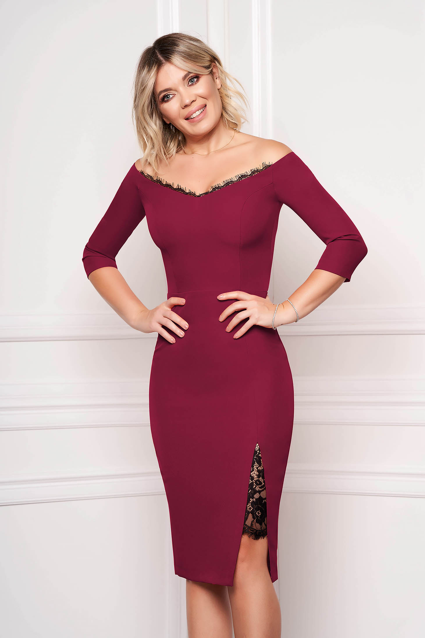 StarShinerS raspberry dress elegant midi pencil cloth thin fabric with 3/4 sleeves naked shoulders with lace details