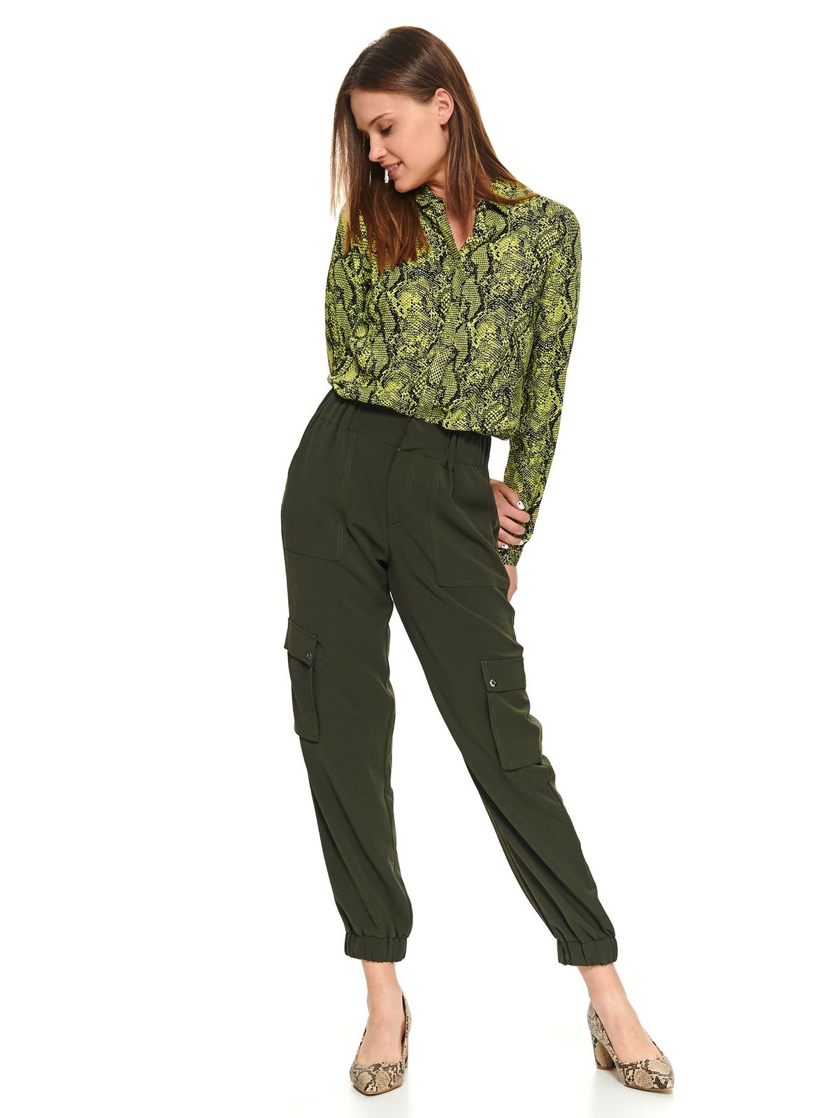 Camasa dama Top Secret verde snake print scurta casual cu maneca lunga se inchide cu nasturi