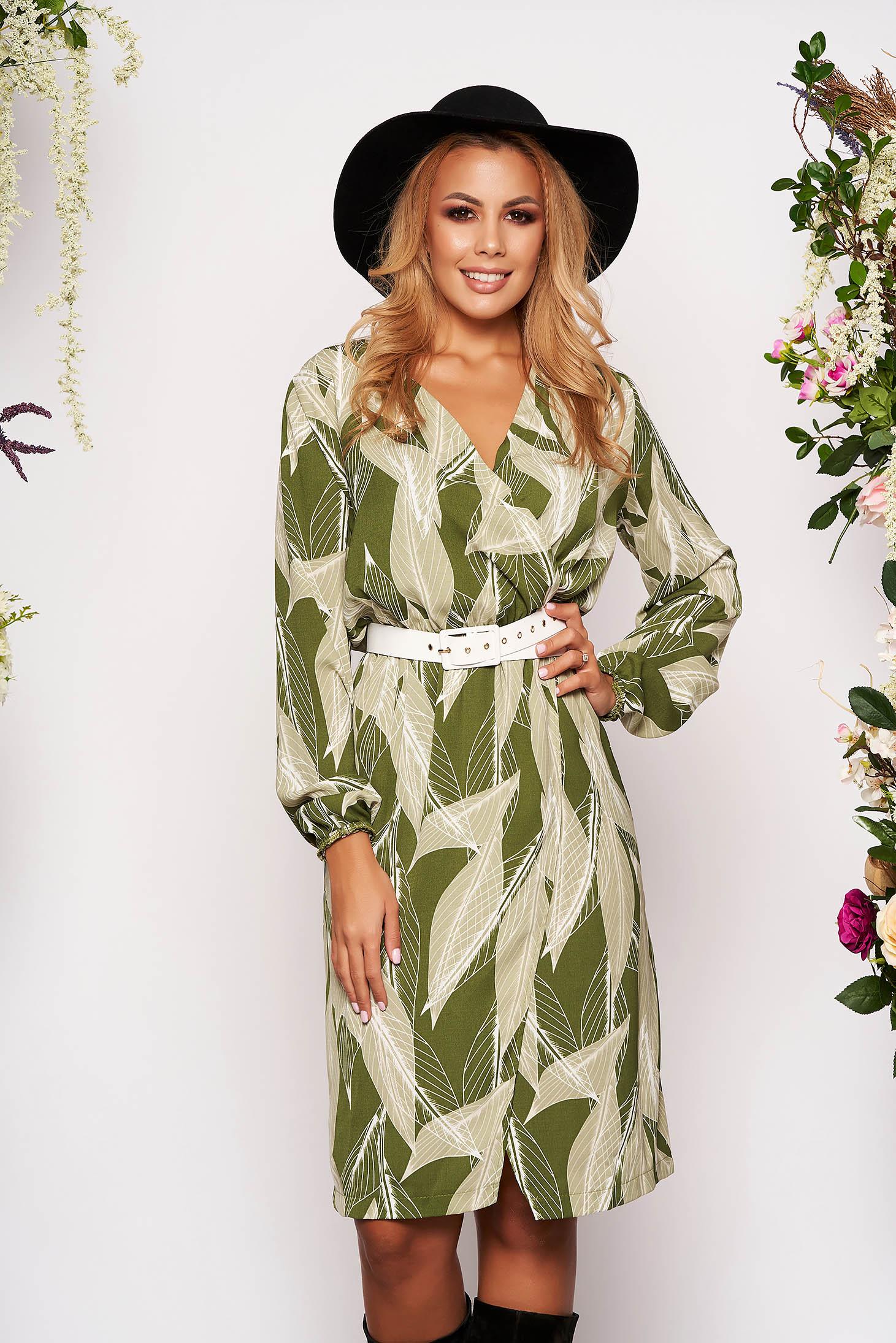 Rochie StarShinerS verde midi eleganta cu croi drept decolteu petrecut in v cu elastic in talie cu maneci lungi si accesoriu tip curea
