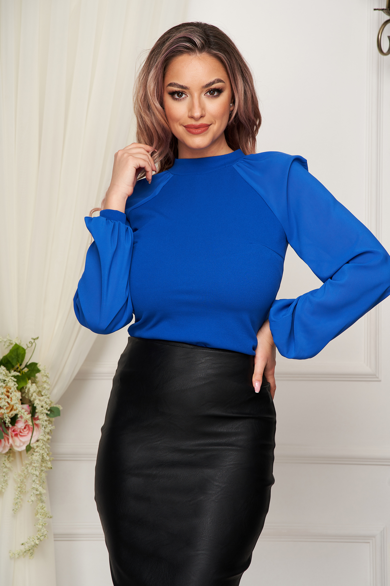 StarShinerS blue women`s blouse elegant from elastic fabric long sleeved with easy cut