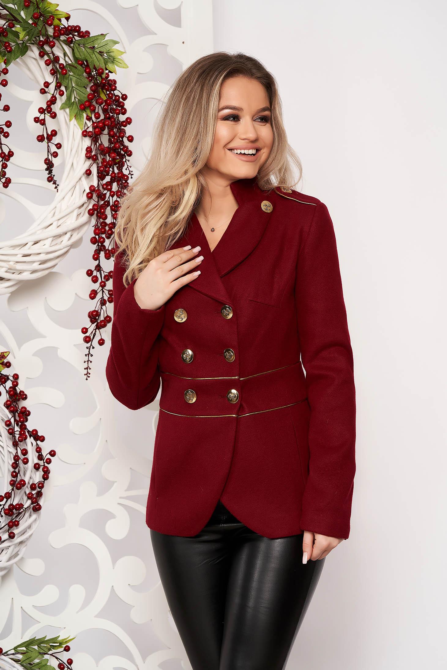 Jacheta LaDonna visinie scurta eleganta din material gros cu maneca lunga si inchidere cu nasturi aurii