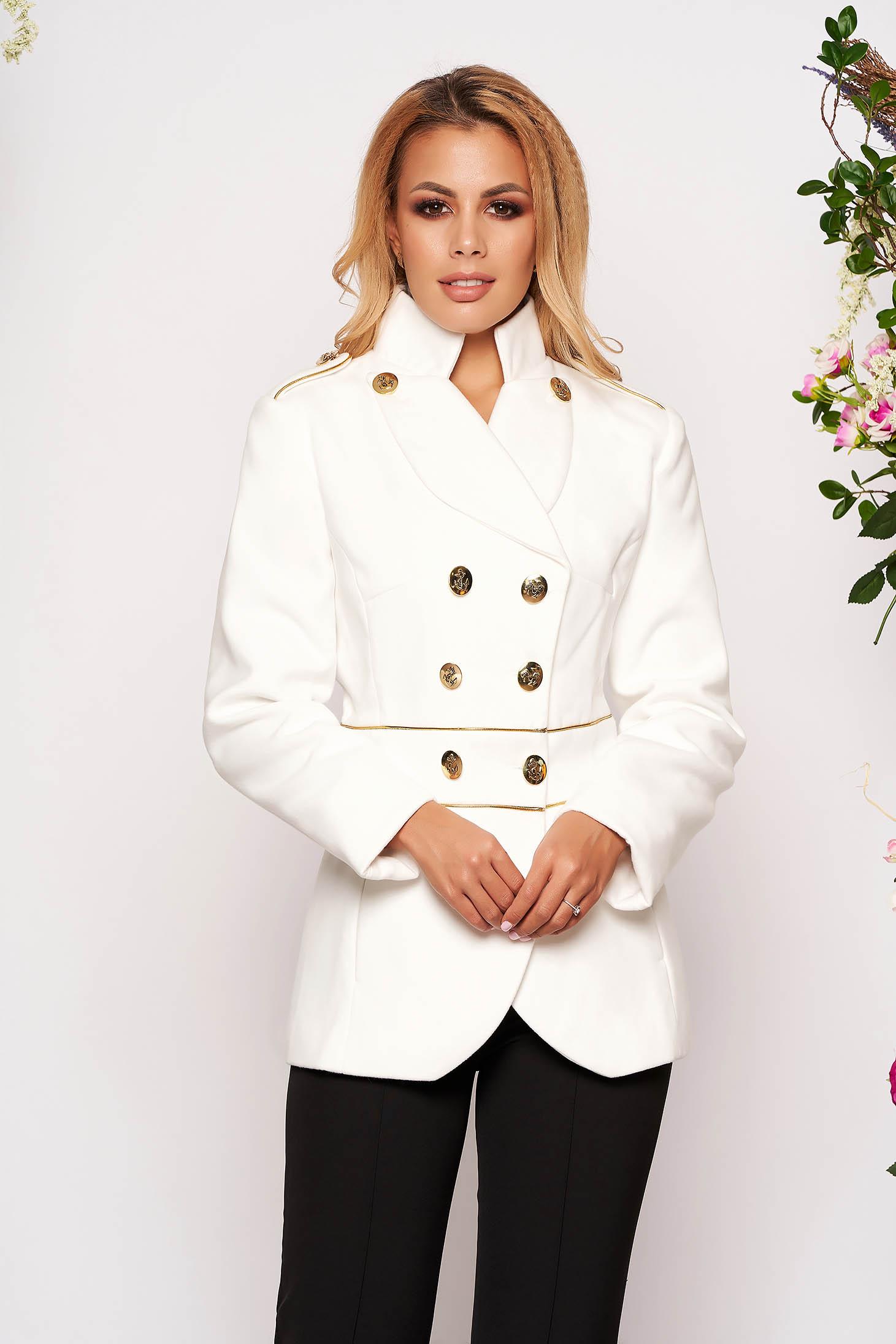 Jacheta LaDonna alba eleganta scurta material gros cu maneca lunga inchidere cu nasturi aurii
