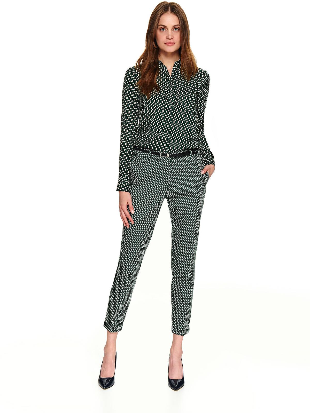 Camasa dama Top Secret verde-inchis scurta casual cu croi larg cu maneci lungi si imprimeuri grafice