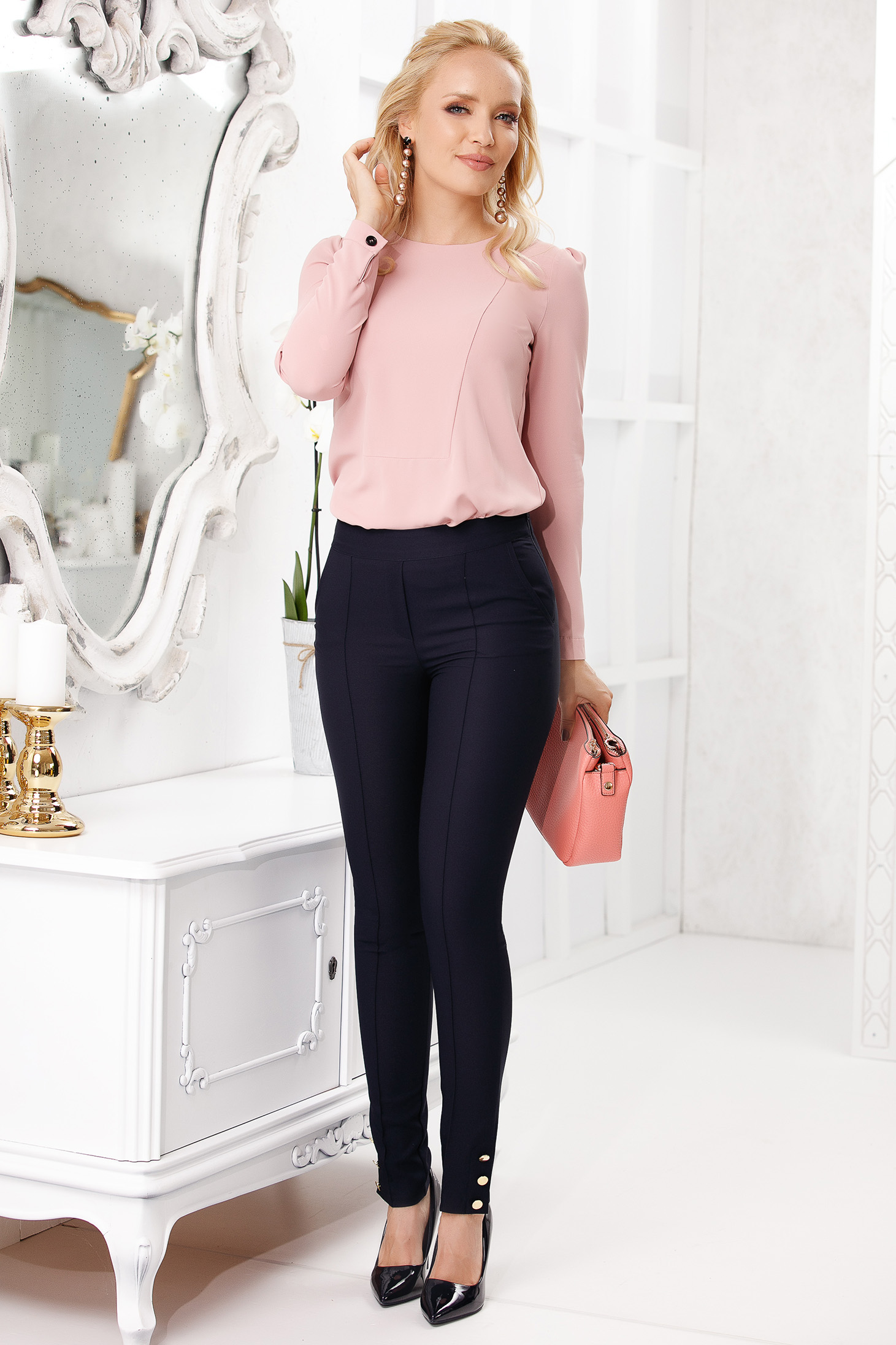 Darkblue trousers elegant long conical with pockets with button accessories cloth thin fabric