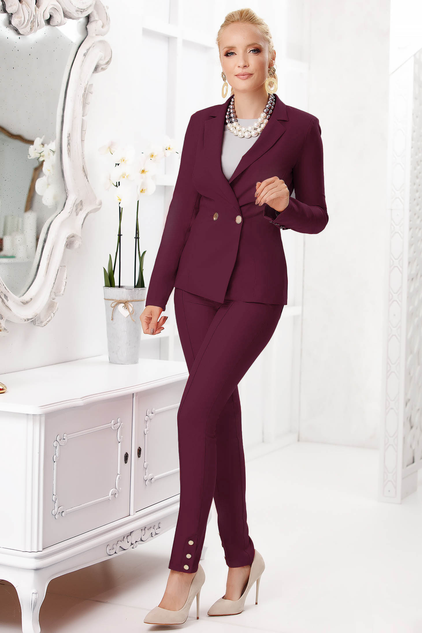 Burgundy trousers elegant long conical with pockets with button accessories cloth thin fabric