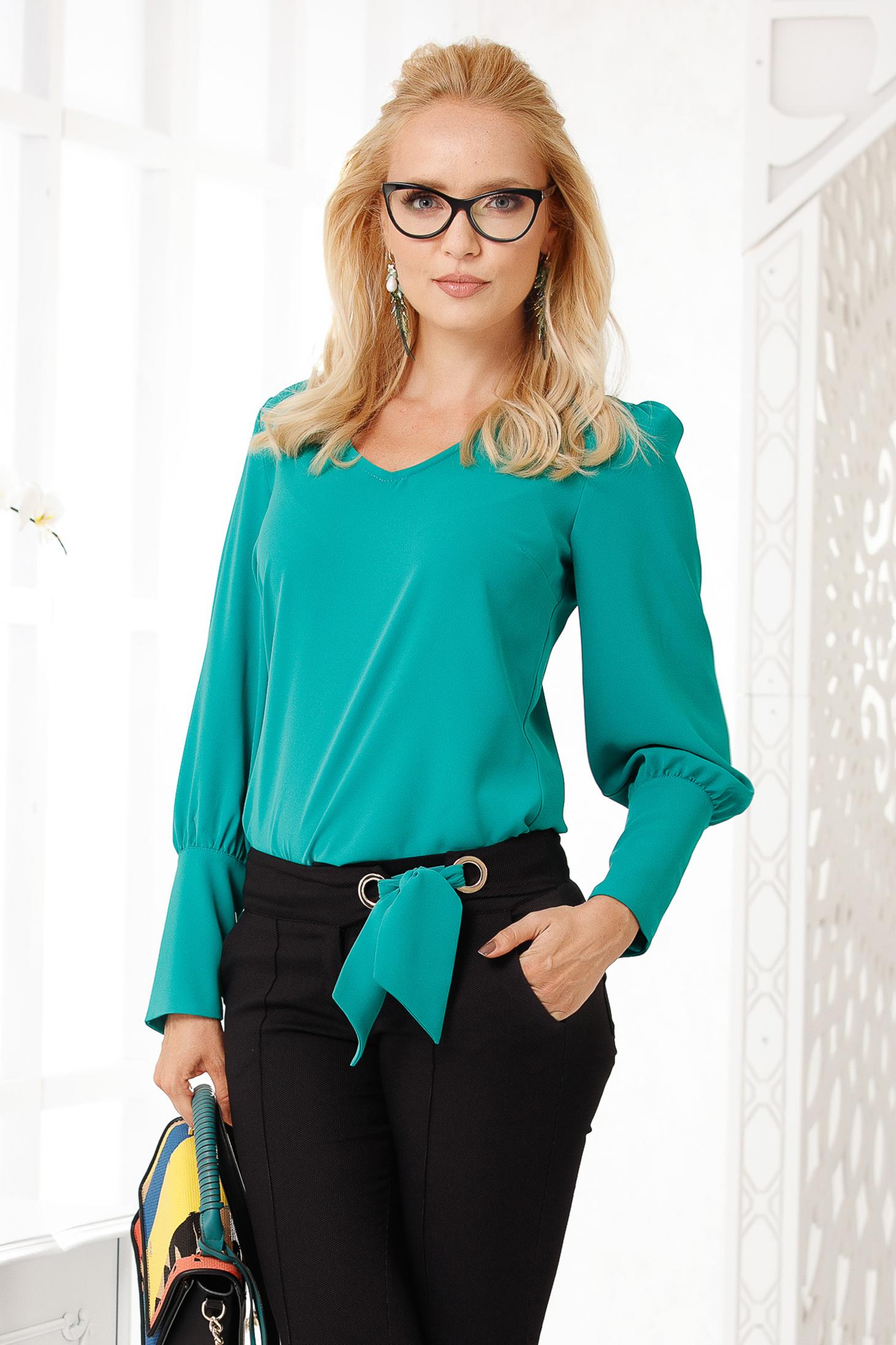 Bluza dama Fofy verde eleganta cu croi larg din voal gros cu maneci lungi si decolteu in v