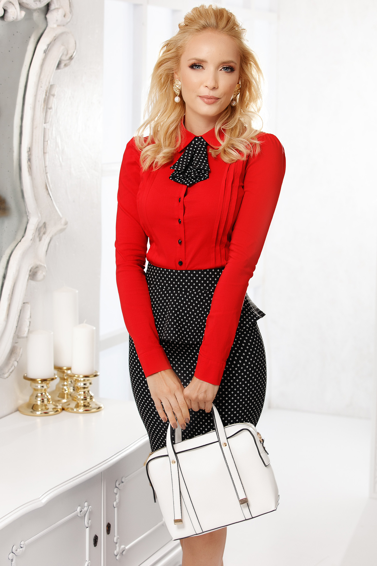 Red women`s shirt elegant cotton tented short cut accesorized with tie