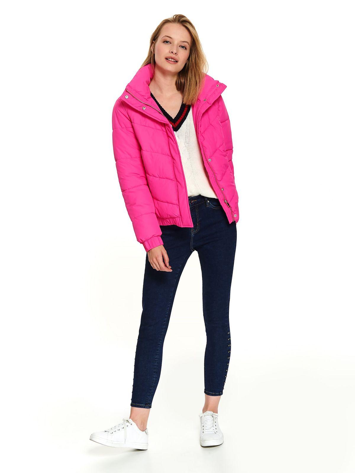Geaca Top Secret roz scurta casual cu buzunare guler inalt si maneci lungi