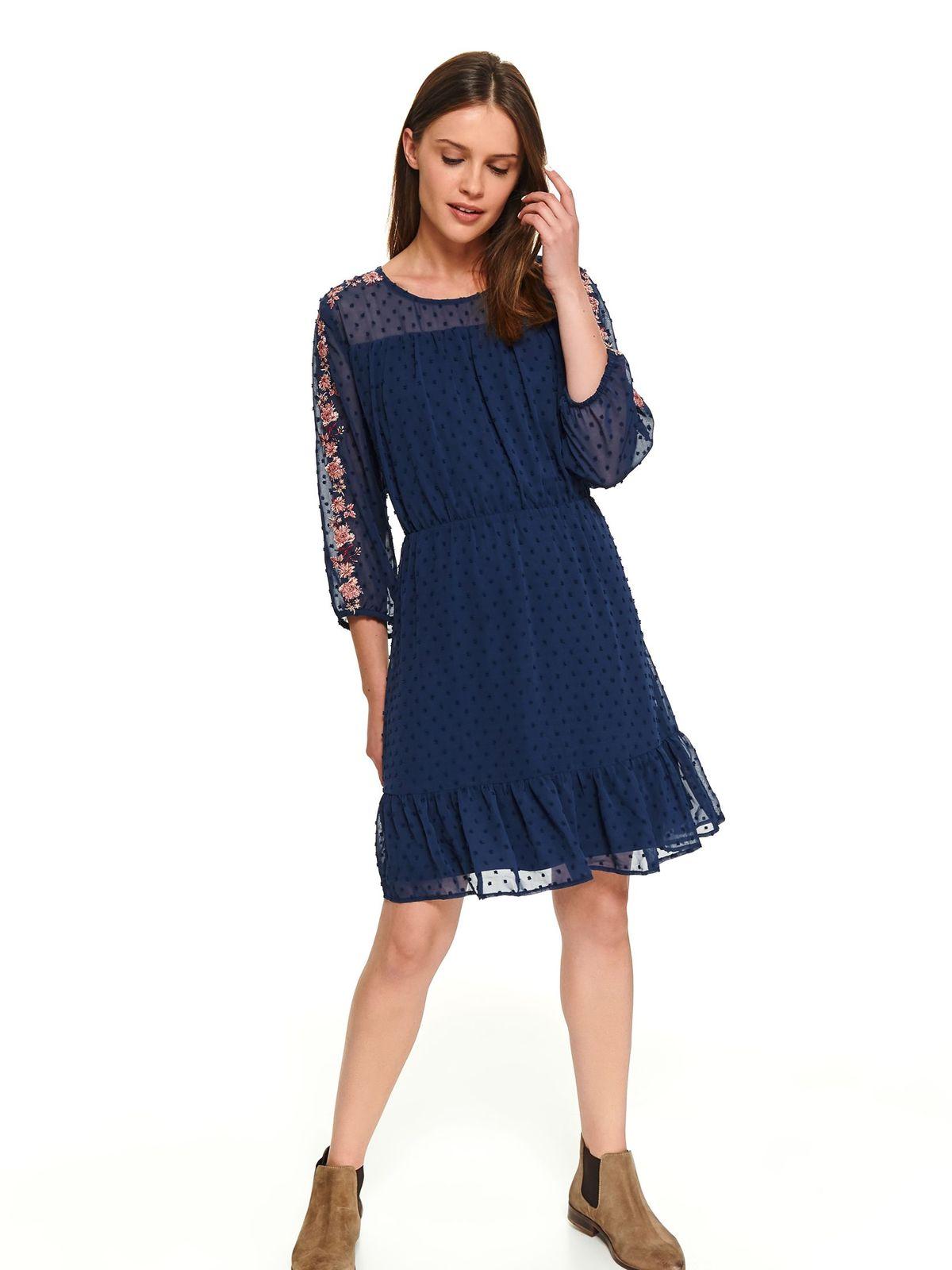 Rochie Top Secret albastru-inchis scurta de zi in clos cu maneci lungi si elastic in talie