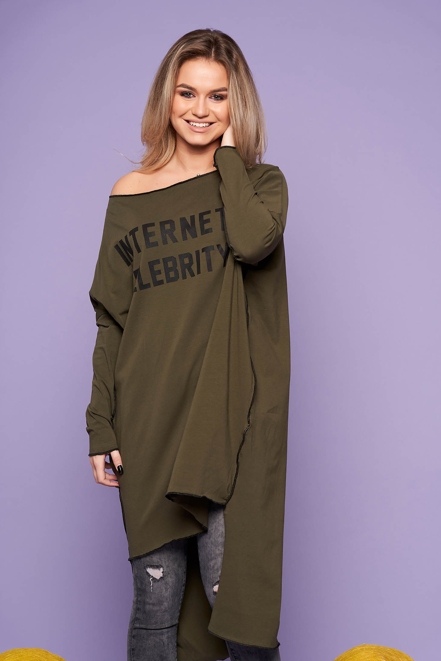 Khaki dress casual flared asymmetrical cotton one shoulder long sleeved
