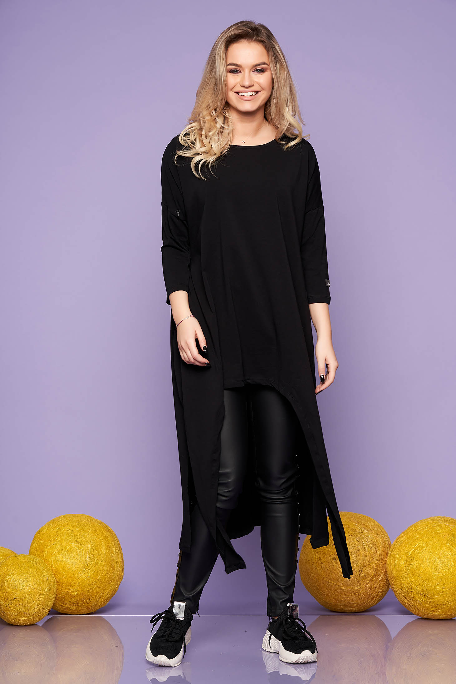 Black dress casual long cotton flared long sleeved neckline