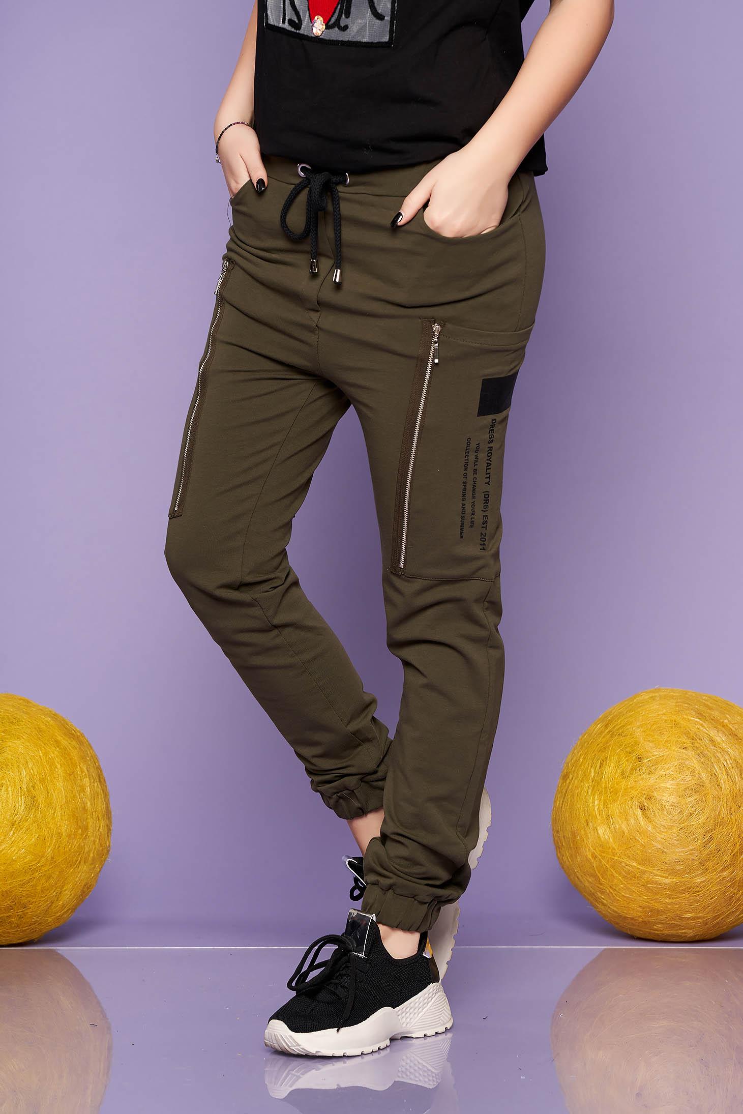 Pantaloni khaki lunga casual din bumbac cu talie inalta cu elastic si buzunare laterale