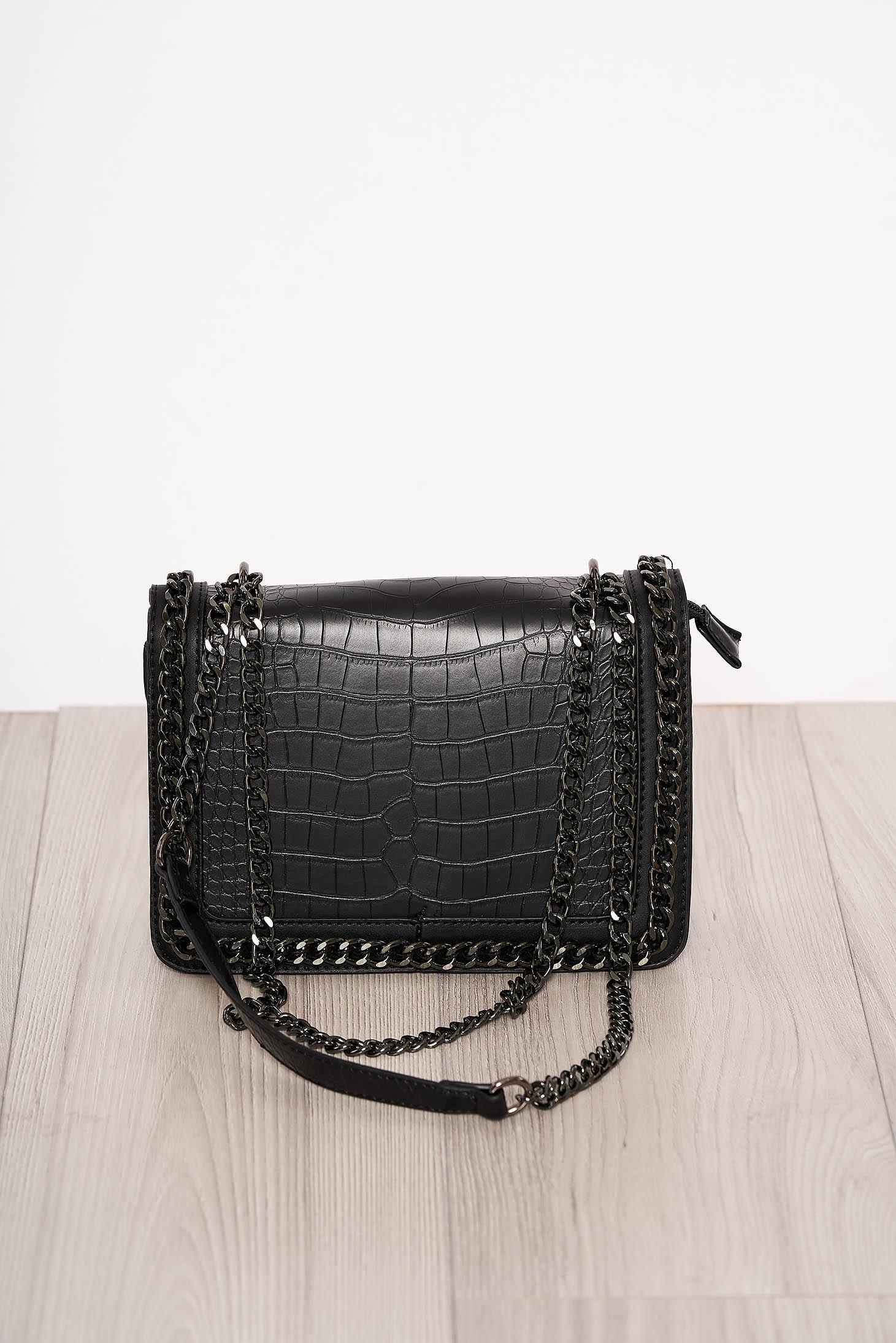 Geanta dama neagra snake print eleganta din piele ecologica accesorizata cu fermoare