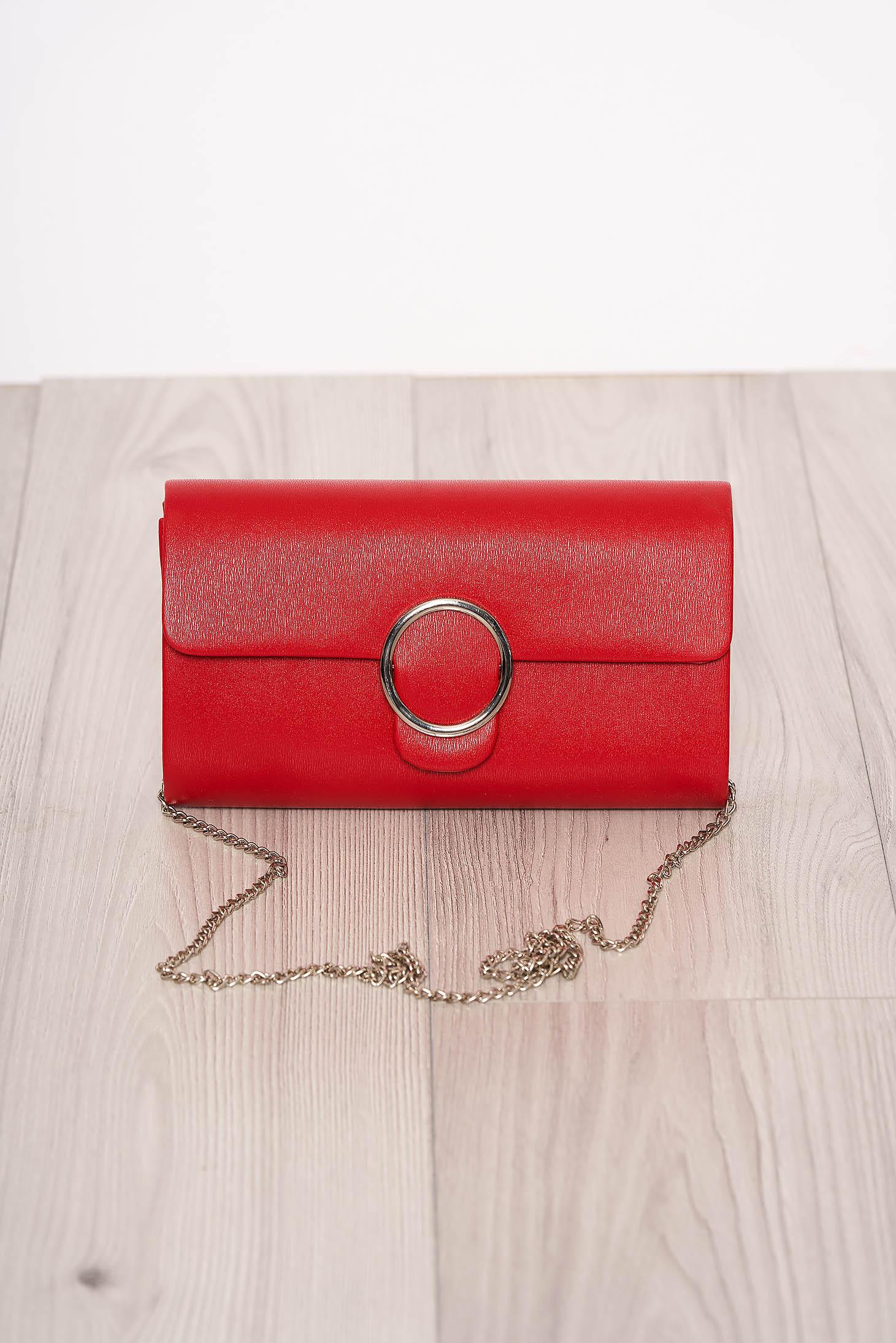 Geanta dama rosie eleganta cu maner lung tip lantisor detasabil si inchidere cu capsa magnetica