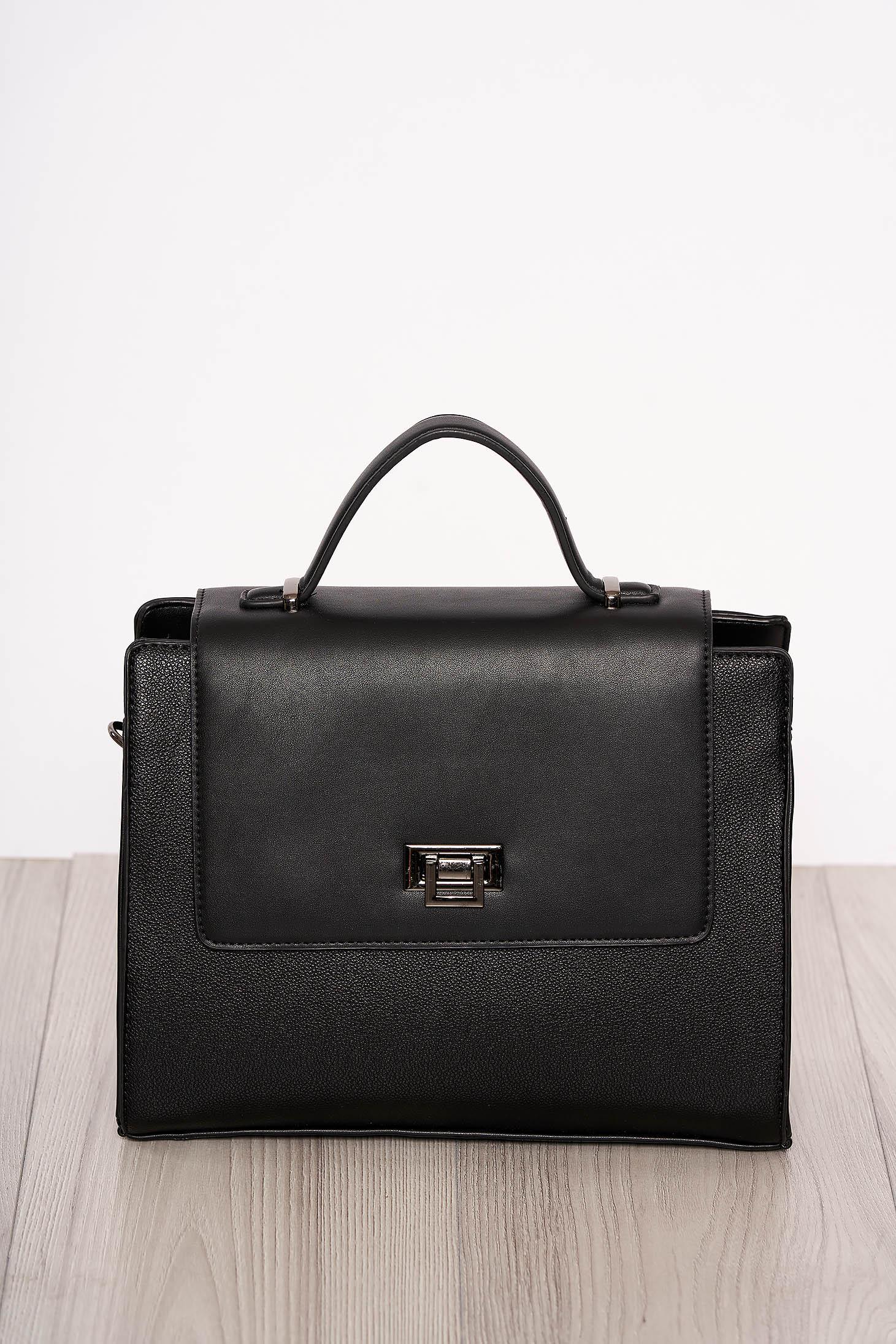 Bag black elegant faux leather short handles