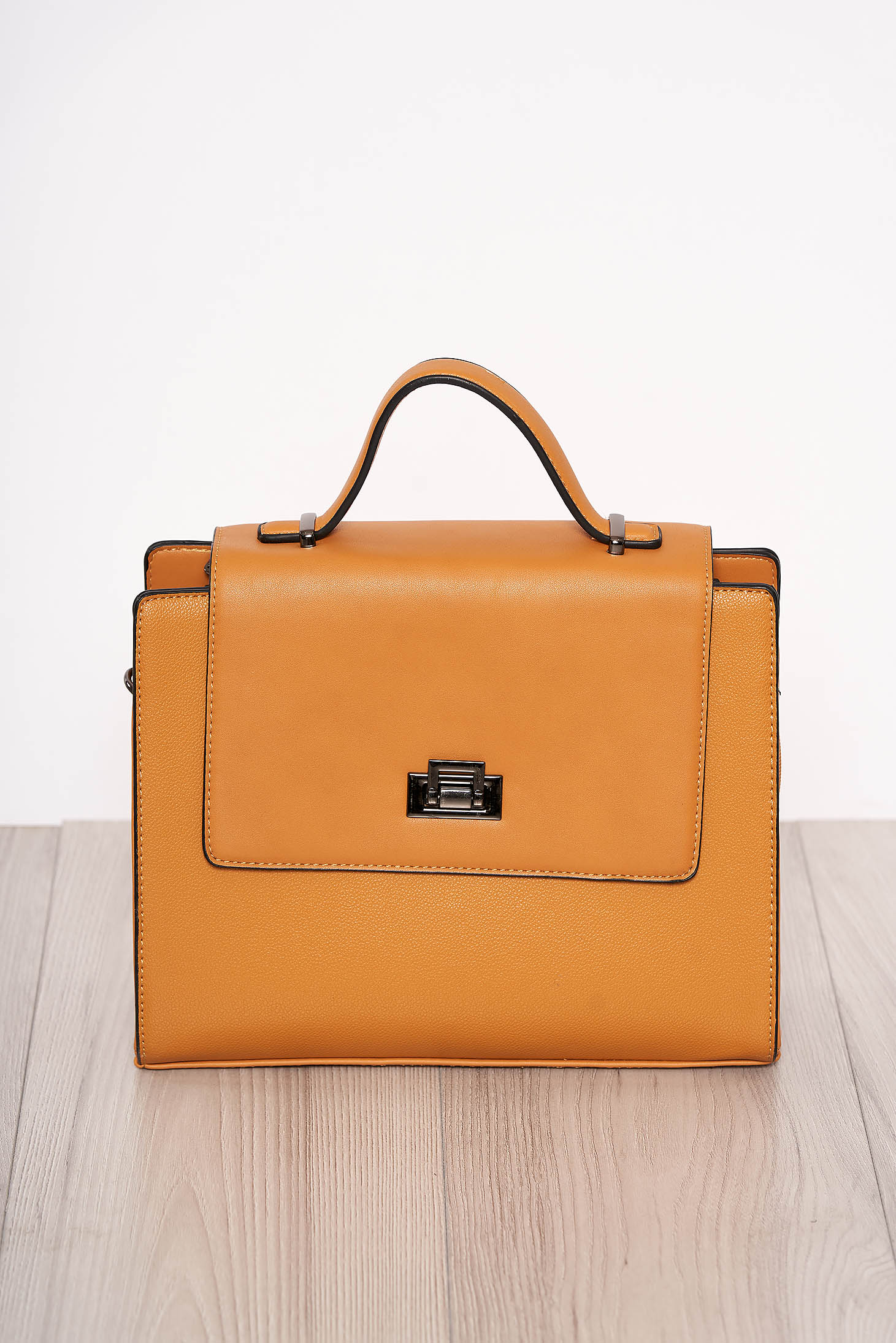 Yellow bag elegant faux leather short handle and long chain handle